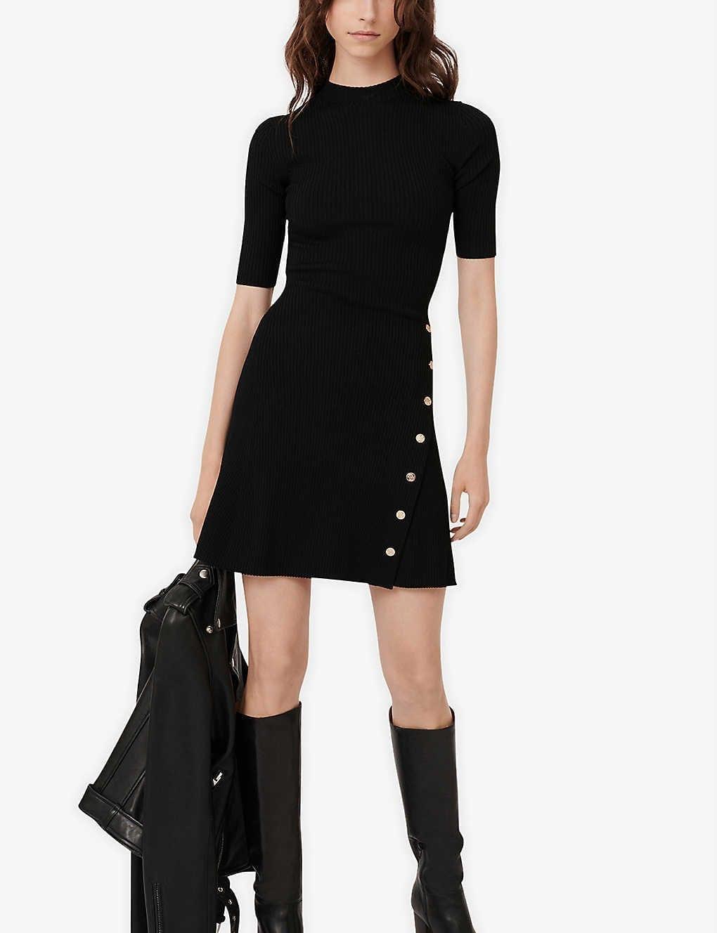 MAJE Rosea Studded Stretch-knit Mini Dress