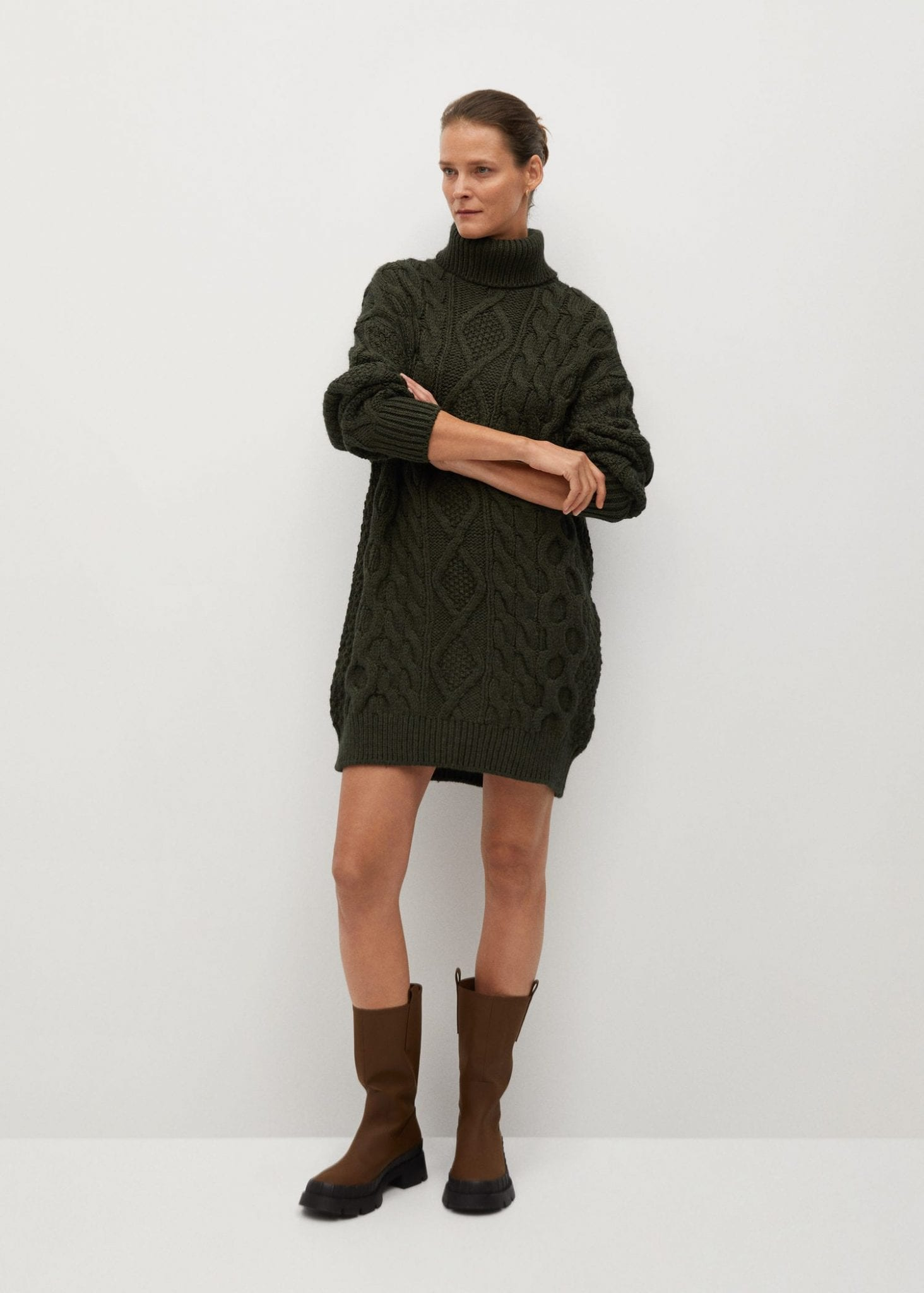 MANGO Knitted Turtleneck Dress