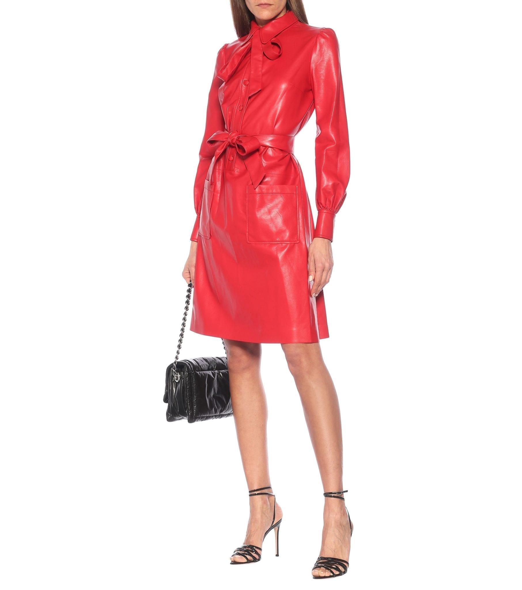 MARC JACOBS The Leatherette Faux Leather Shirt Mini Dress