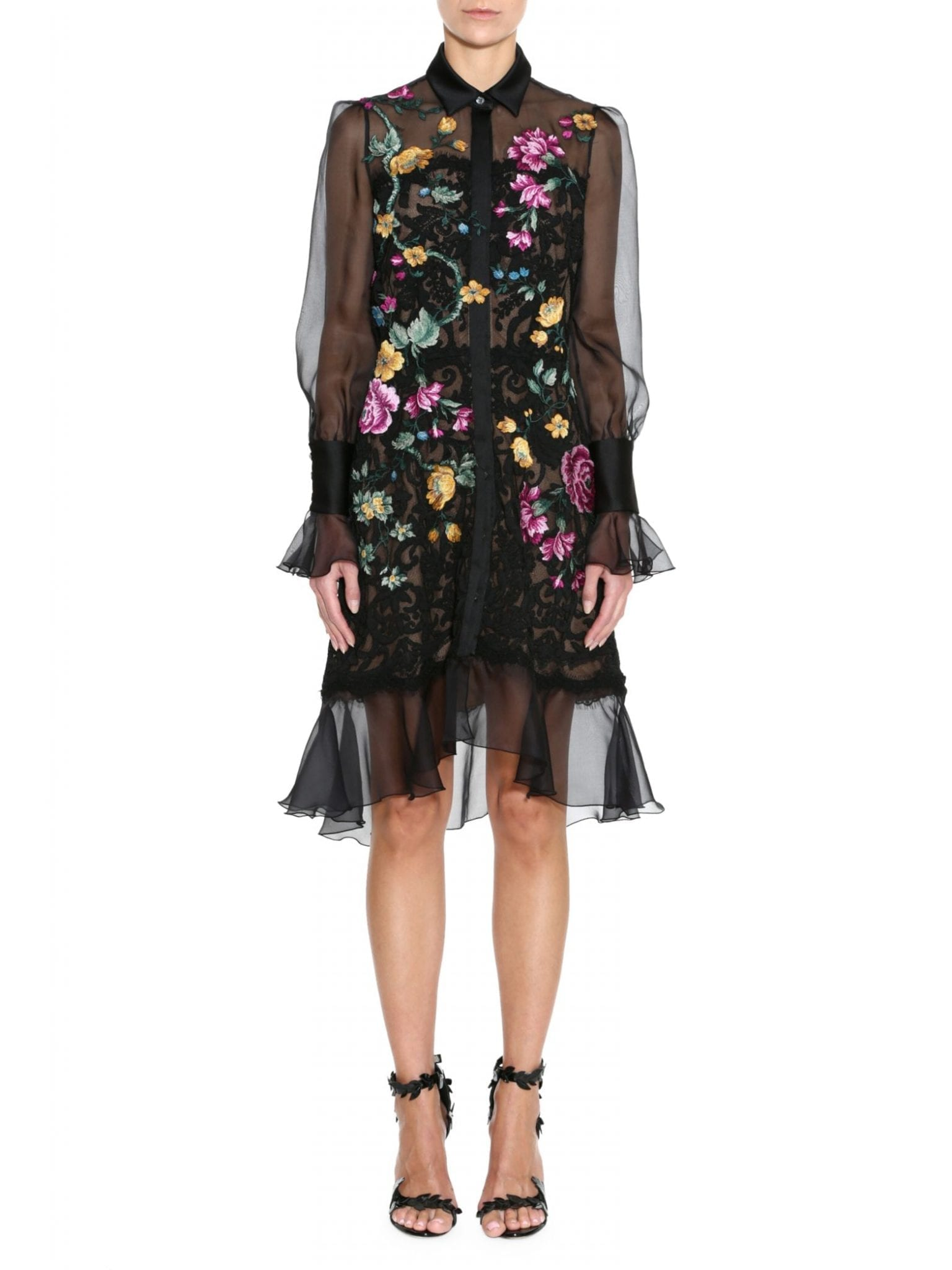 MARCHESA Damask Lace Floral Embroidered Shirt Dress