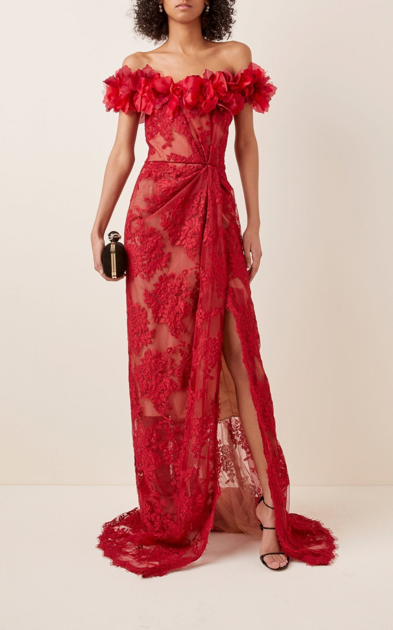 MARCHESA Floral-Embellished Lace Gown