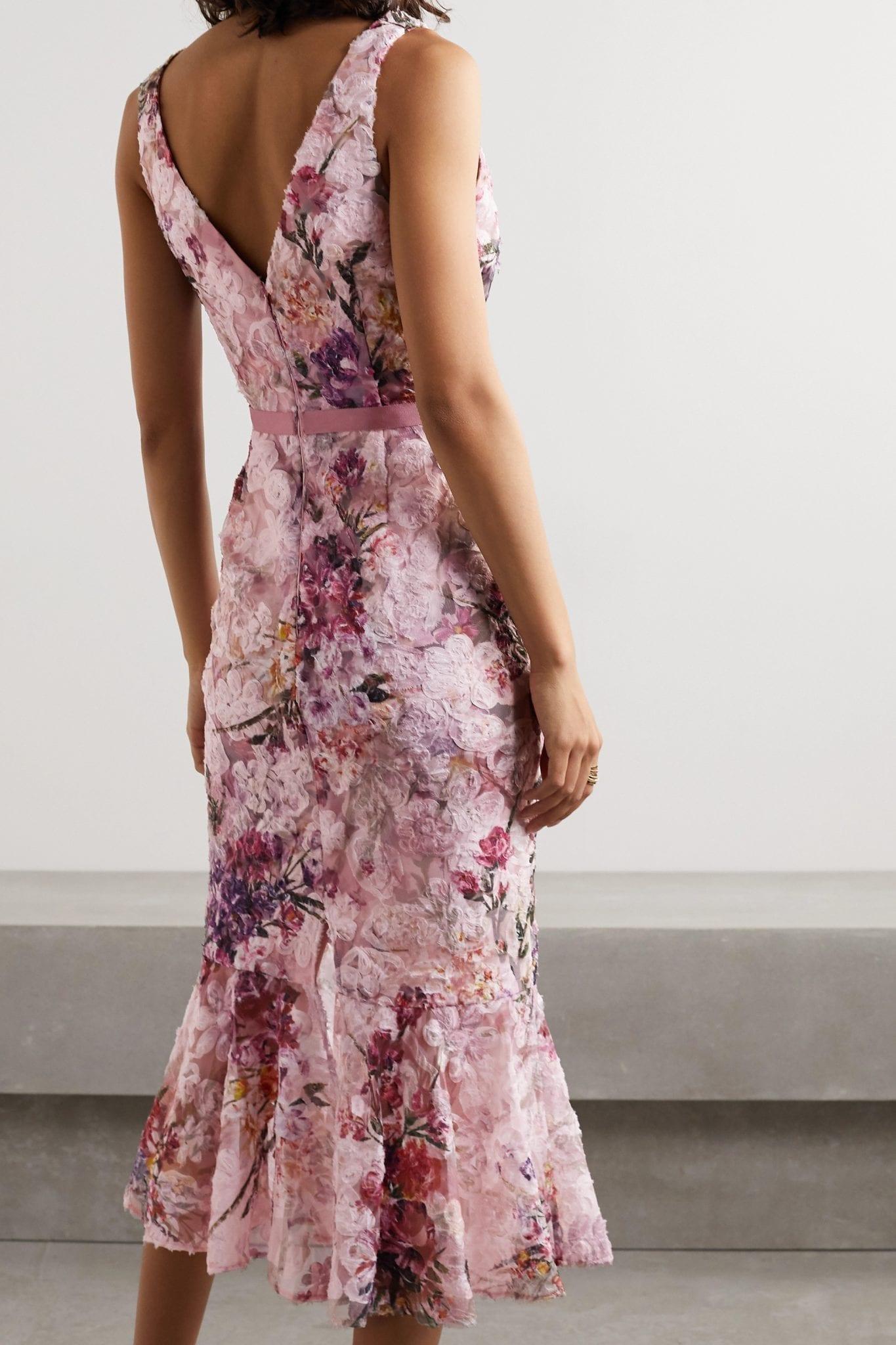 MARCHESA NOTTE Appliquéd Floral-print Tulle Midi Dress