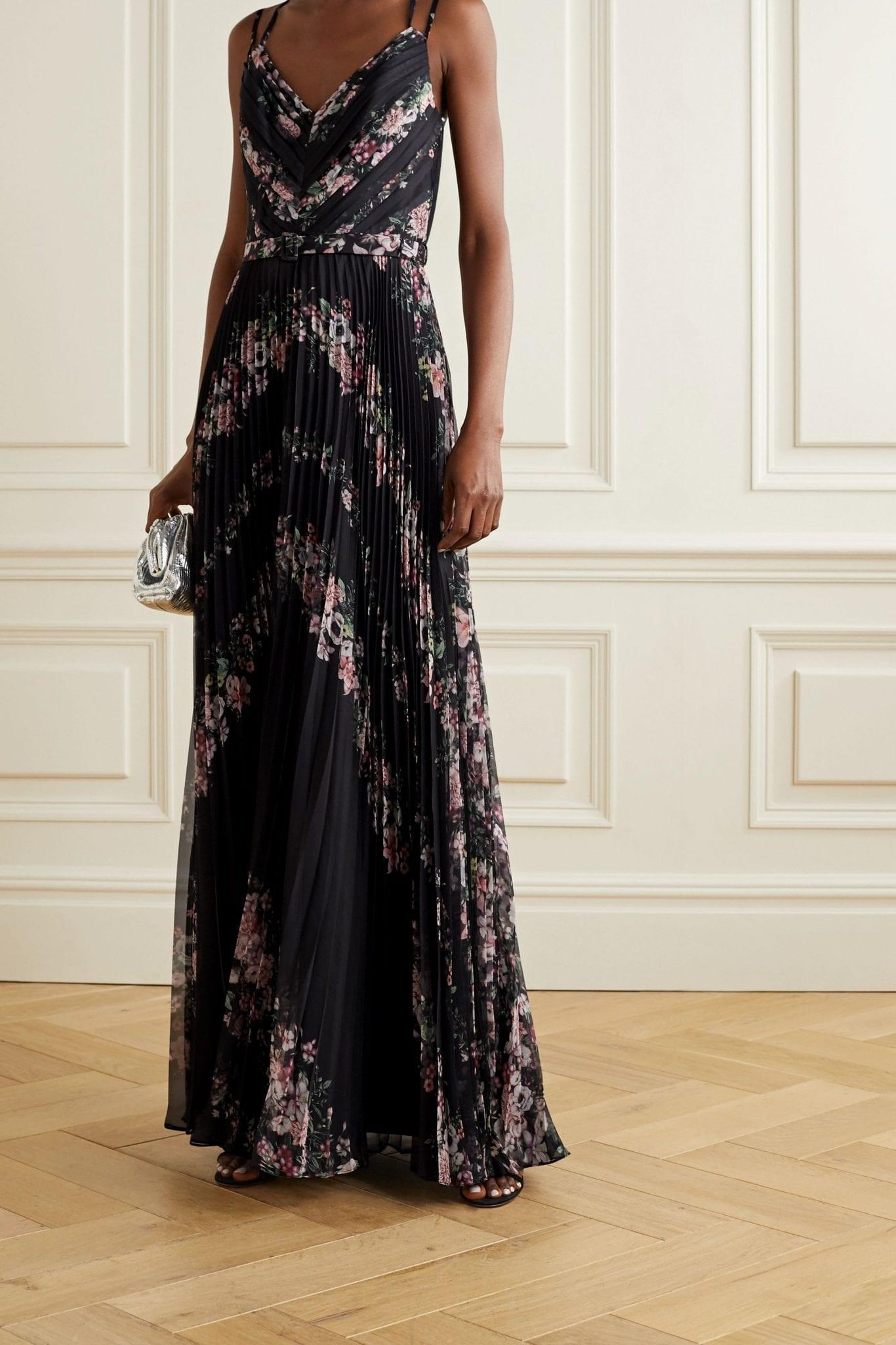 MARCHESA NOTTE Belted Floral-print Plissé-chiffon Gown