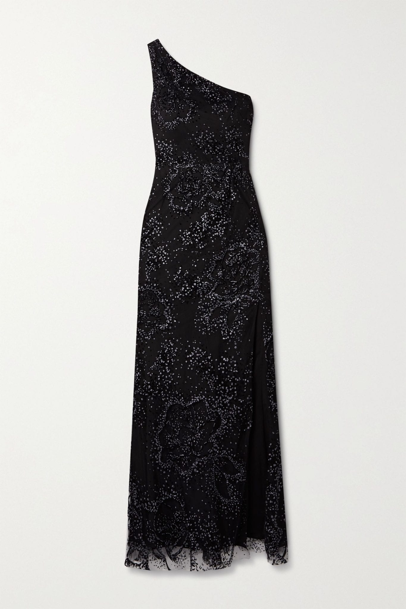 MARCHESA NOTTE One-shoulder Flocked Glittered Tulle Gown