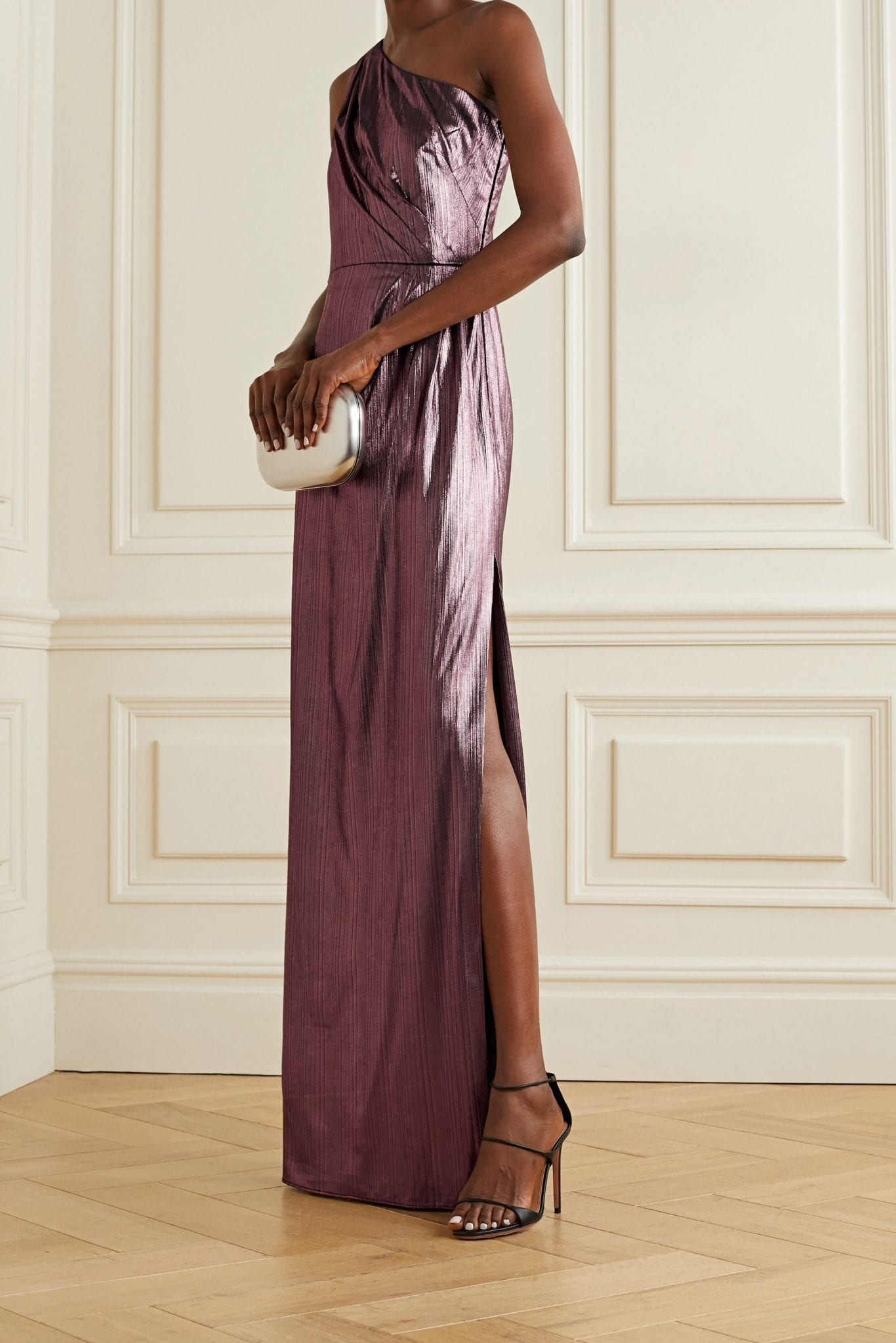 MARCHESA NOTTE One-shoulder Metallic Lamé Gown