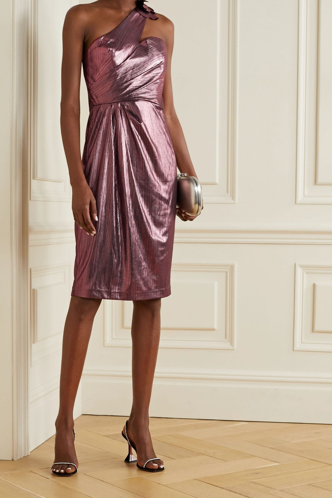 MARCHESA NOTTE One-shoulder Metallic Lamé Midi Dress