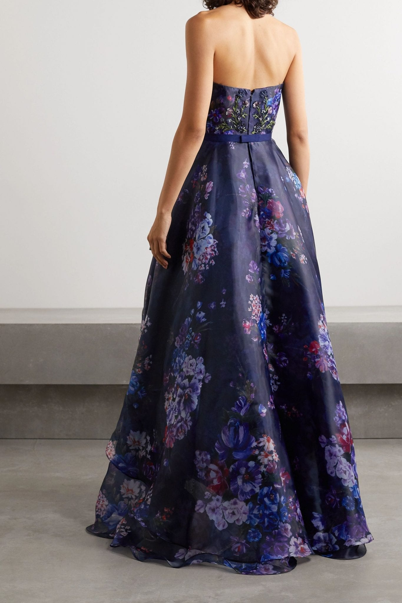 MARCHESA NOTTE Strapless Embellished Embroidered Floral-print Chiffon Gown