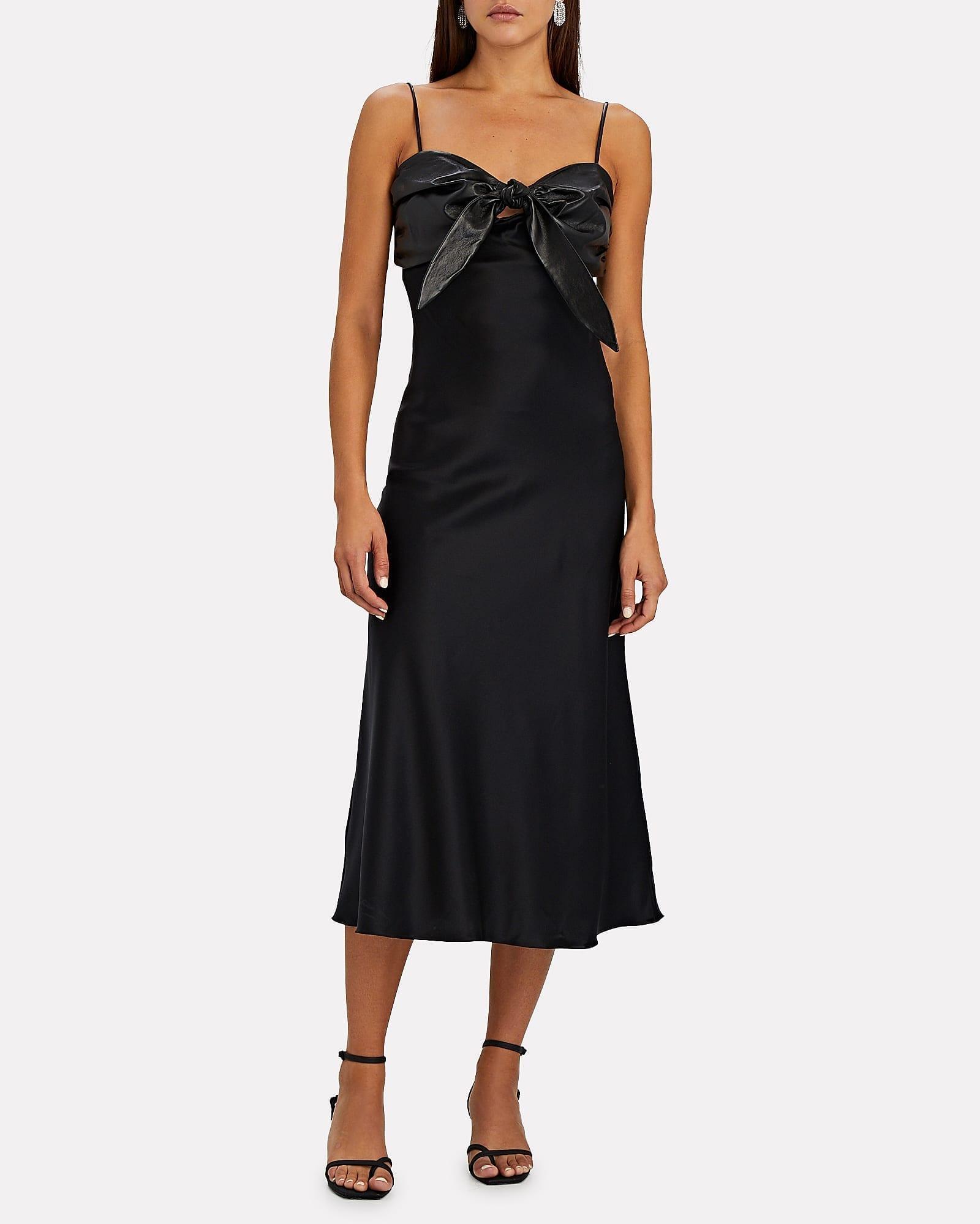 MATÉRIEL Faux Leather-Trimmed Slip Dress