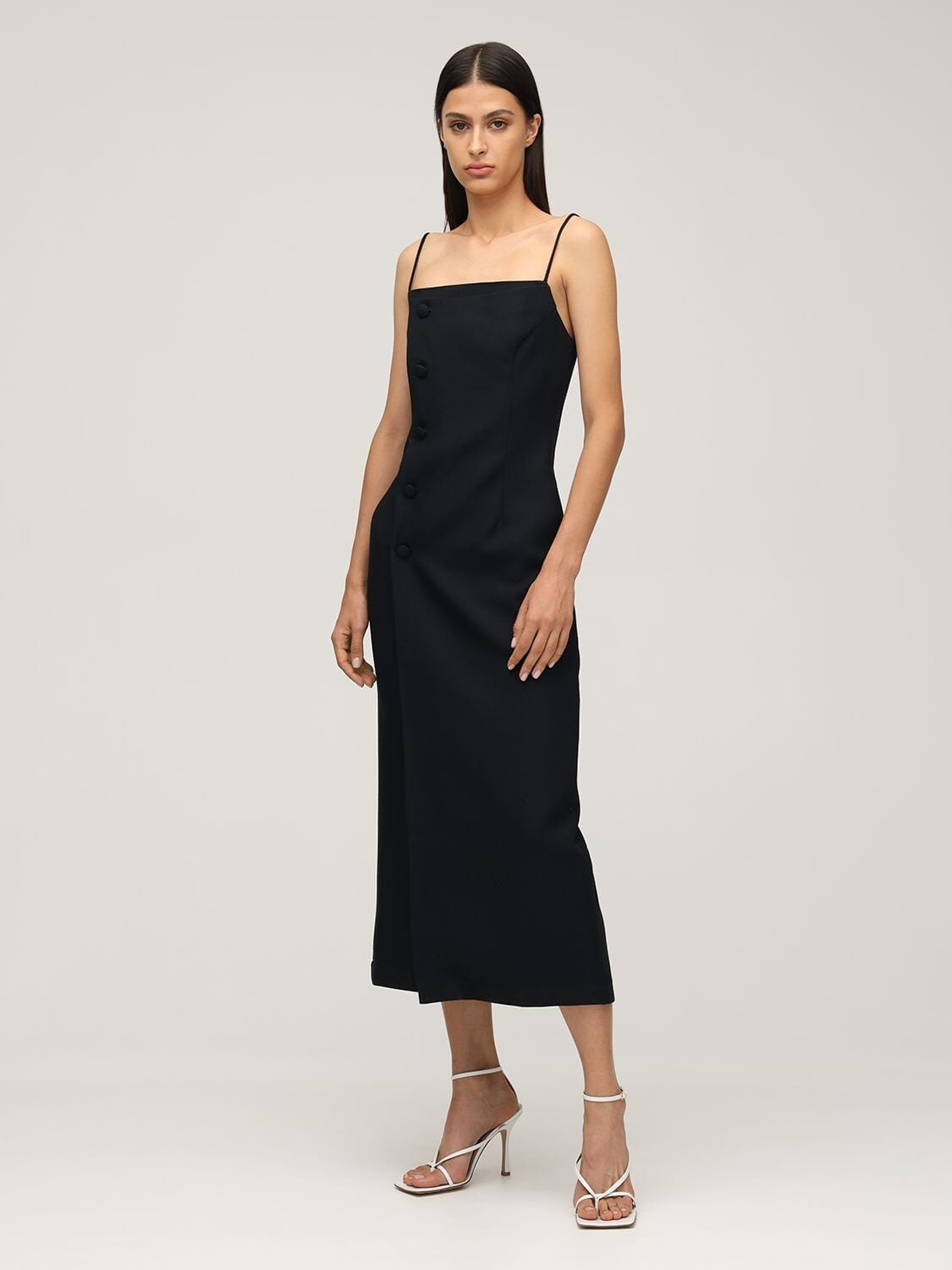 MATÉRIEL Fitted Wool Blend Midi Dress
