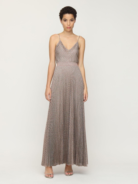 MISSONI Pleated Lurex Knit Midi Dress