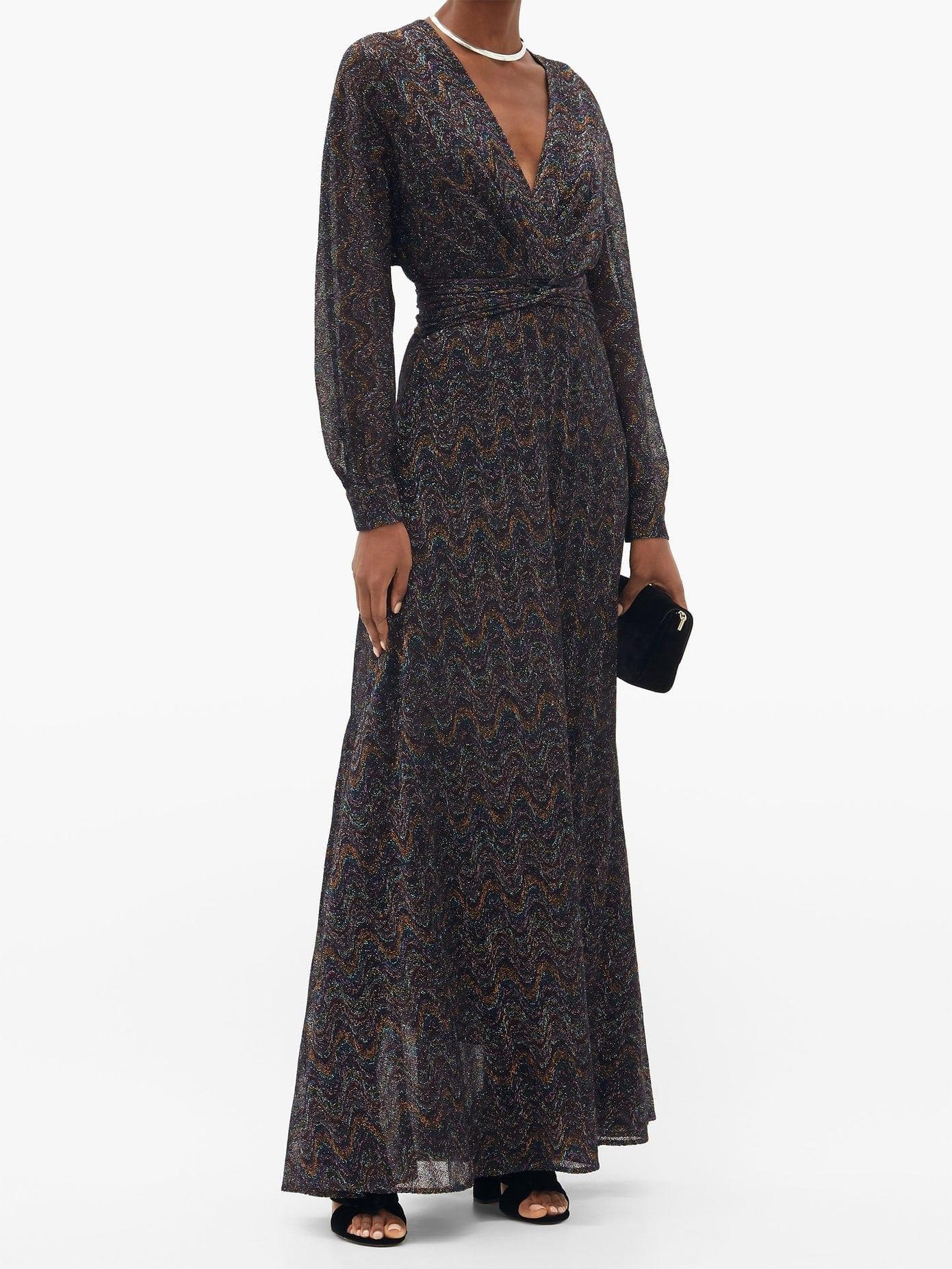 MISSONI V-neck Wave-jacquard Lamé Dress