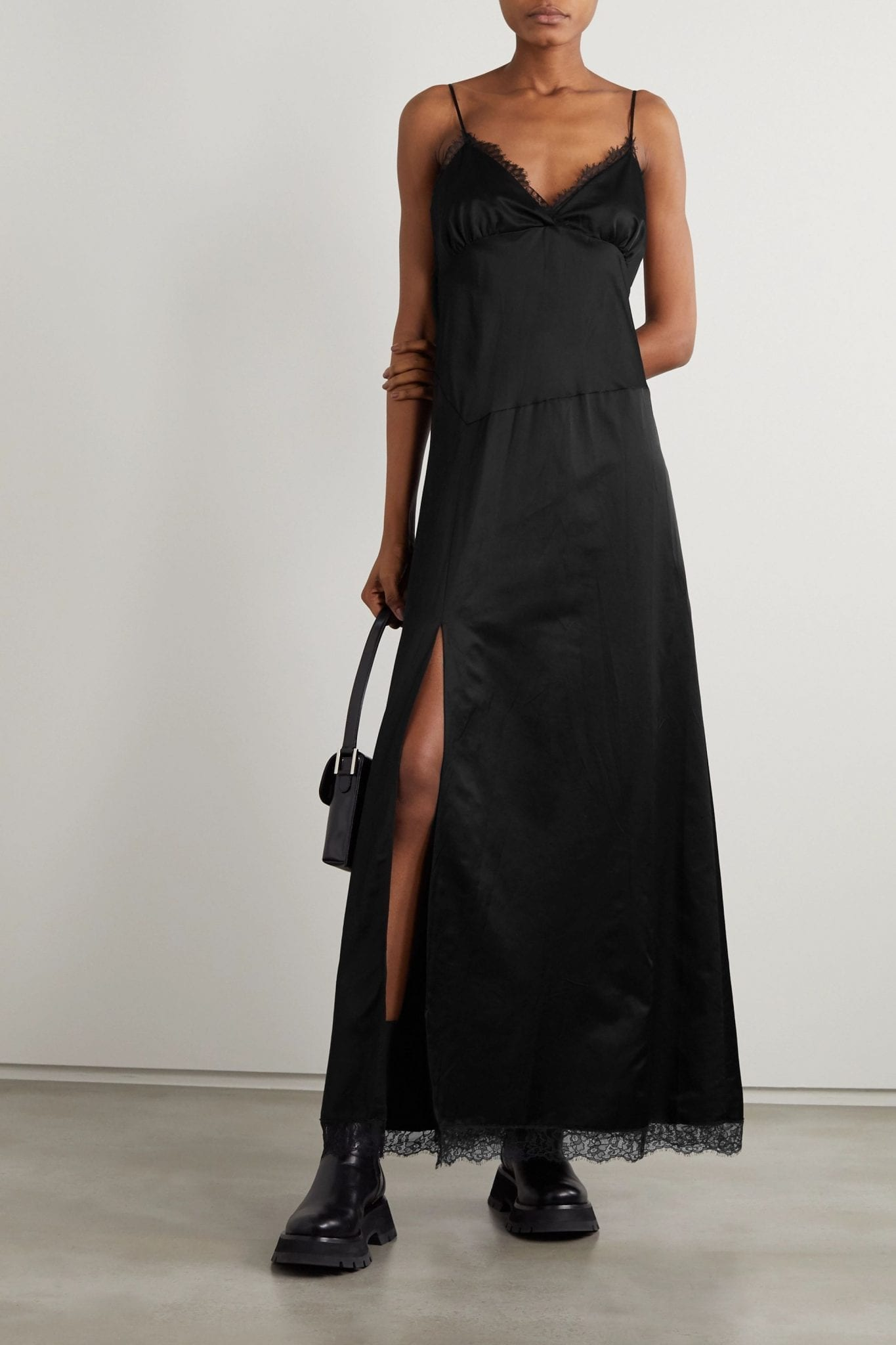 MM6 MAISON MARGIELA Lace-trimmed Cotton-blend Satin Maxi Dress