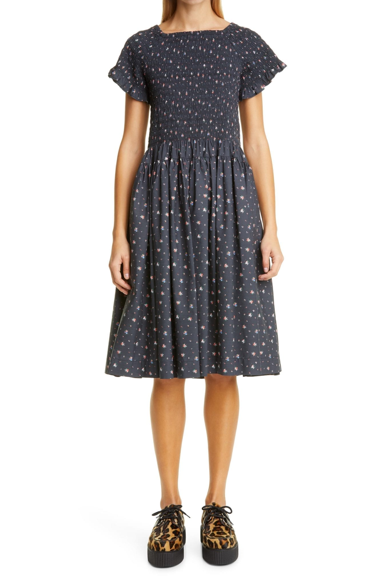 MOLLY GODDARD Tilly Floral Smocked Cotton Dress