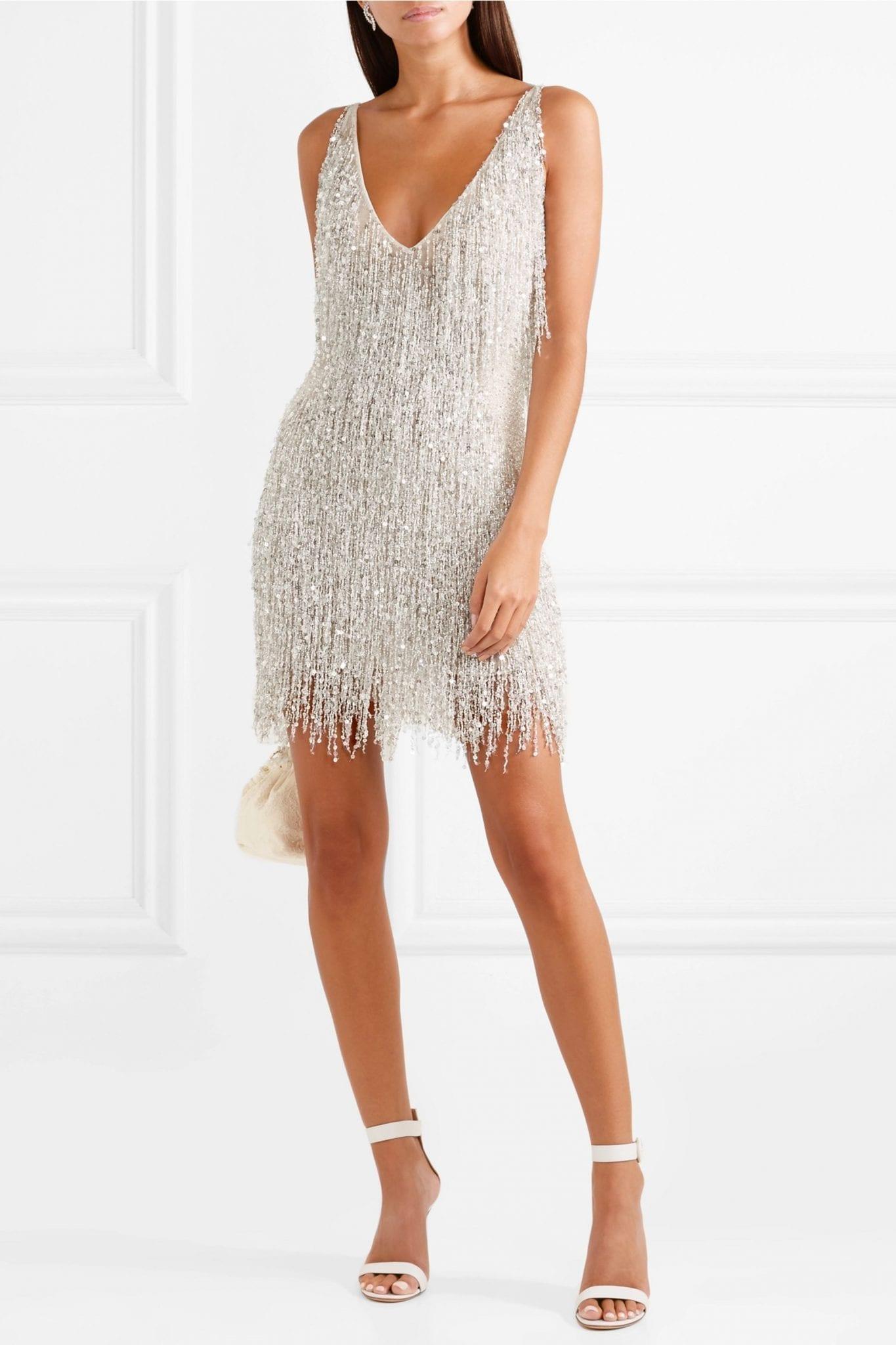 NAEEM KHAN Gatsby Embellished Chiffon Mini Dress