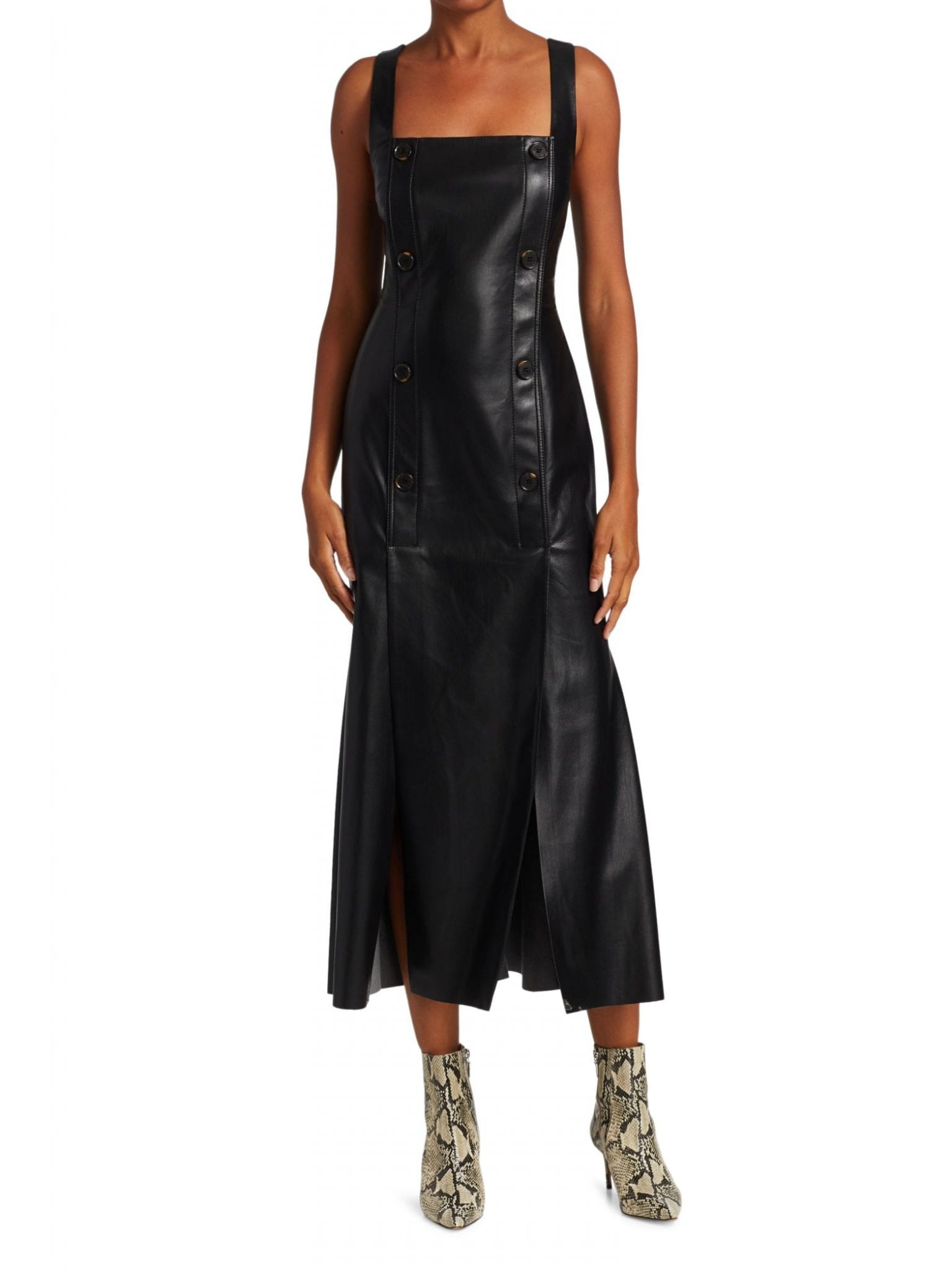 NANUSHKA Allie Vegan Leather Sleeveless Midi Dress