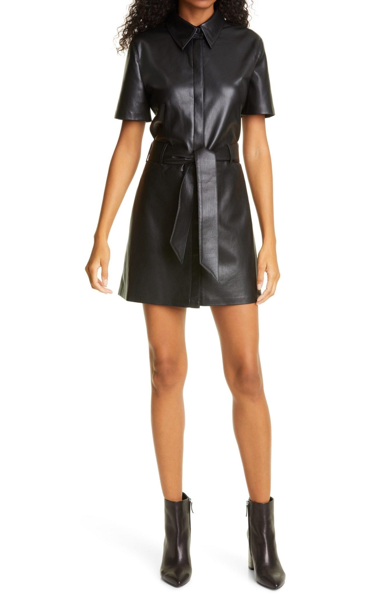 NANUSHKA Halli Faux Leather Shirt Dress