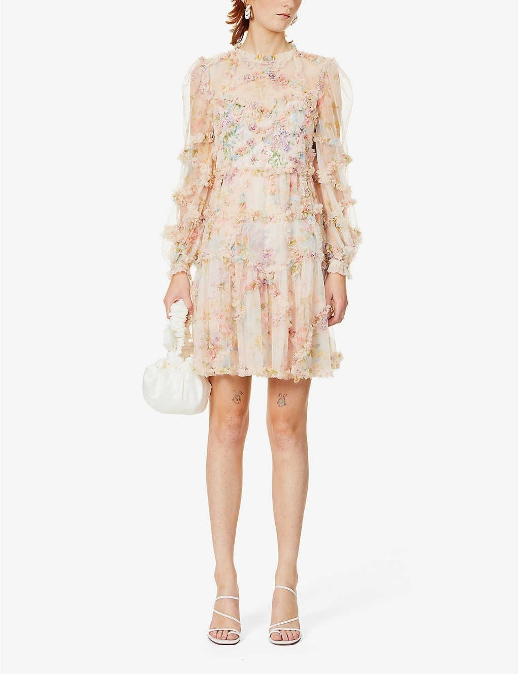 NEEDLE AND THREAD Floral-pattern Semi-sheer Tulle Mini Dress