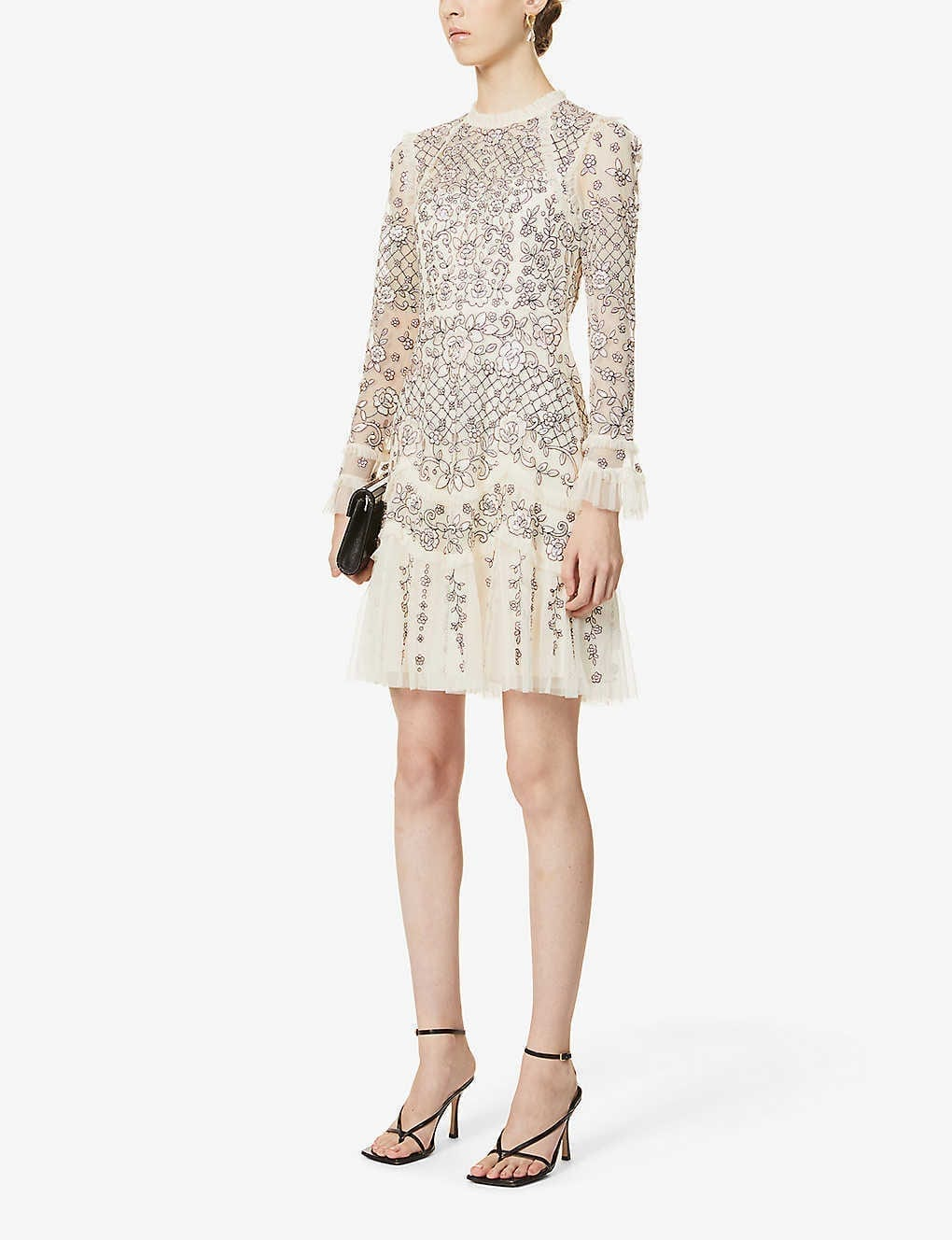 NEEDLE AND THREAD Marigold Rose Floral-embroidered Mesh Mini Dress