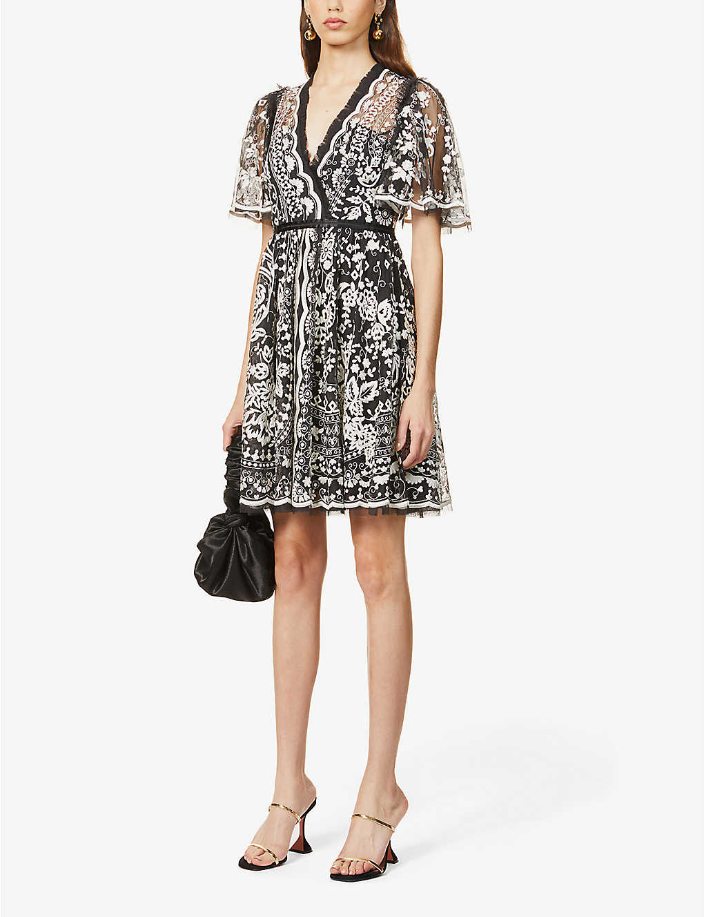 NEEDLE AND THREAD Trudy Belle Floral-embroidered Mesh Mini Dress