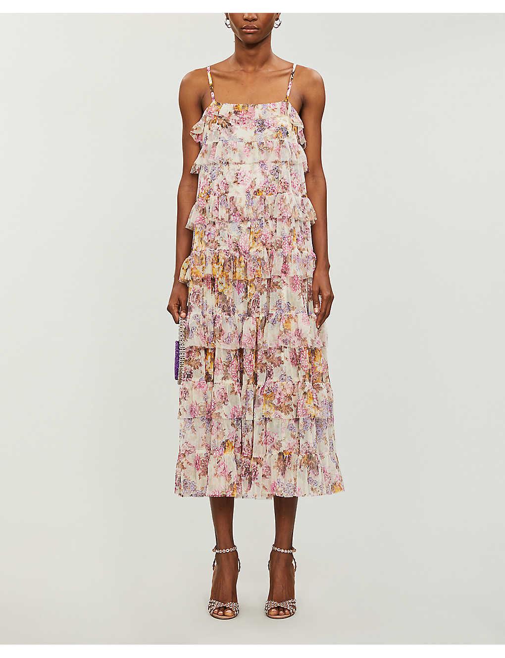 NEEDLE AND THREAD X Jasmine Hemsley Harmony Floral-print Recycled Tulle Midi Dress