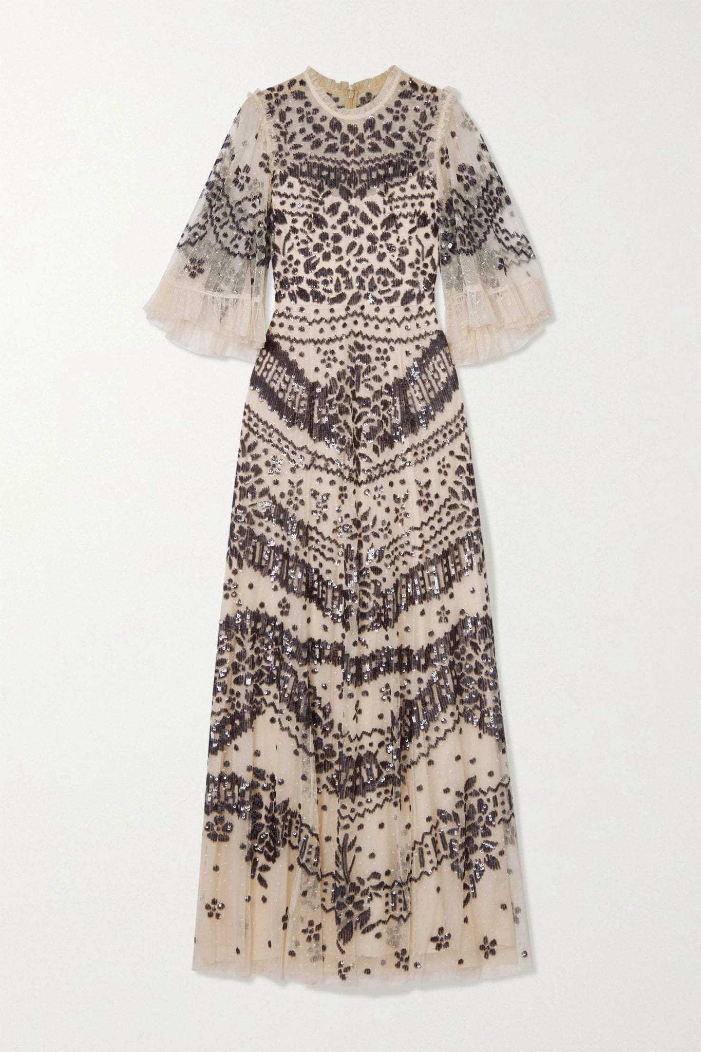 NEEDLE & THREAD Anaïs Sequin Ruffled Embellished Embroidered Tulle Gown