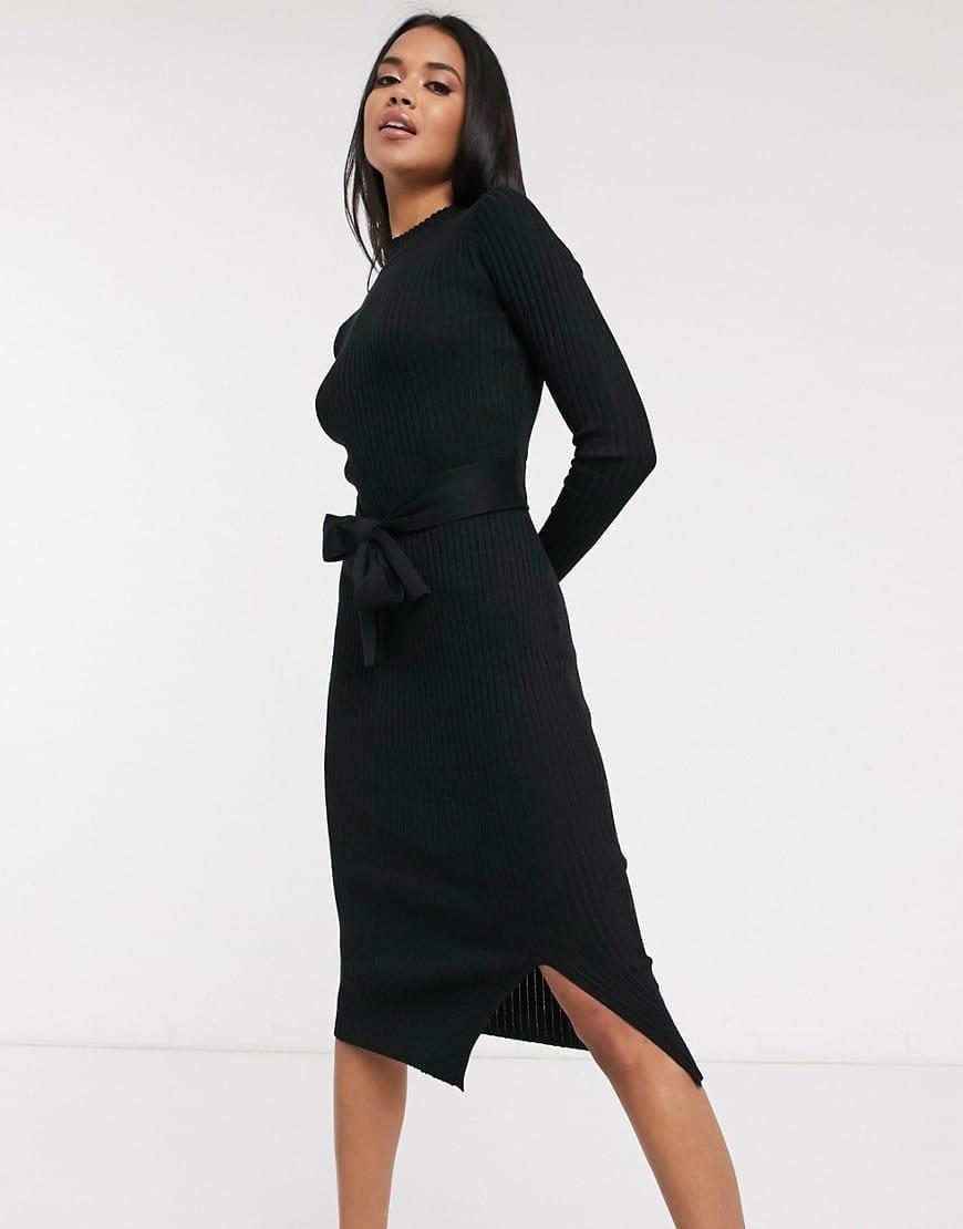 NEW LOOK Tie Waist Knitted Dress