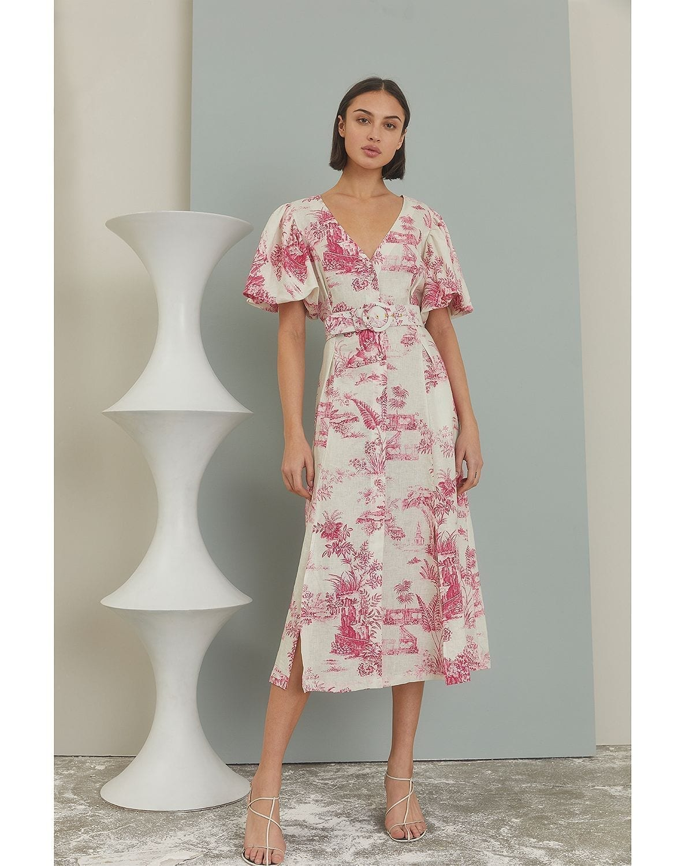 NICHOLAS Troy Toile Print Linen Dress