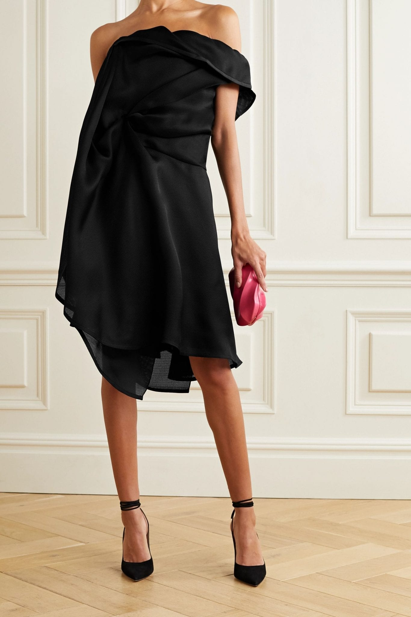 NINA RICCI Asymmetric Gathered Silk-gazar Dress