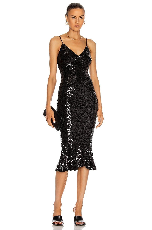 NORMA KAMALI Overlapping Sequin Slip Fishtail Dress