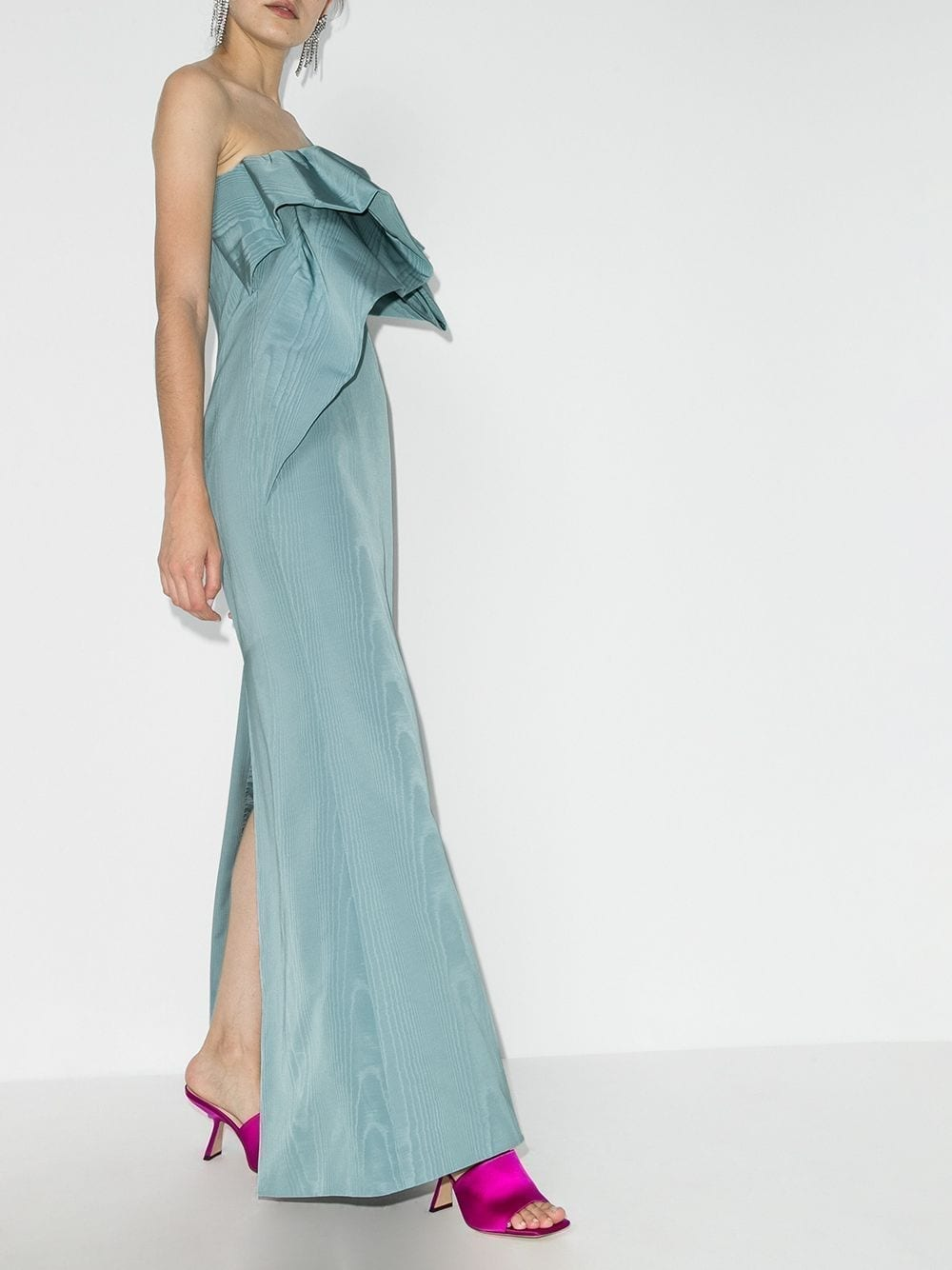 OSCAR DE LA RENTA One Shoulder Bow Front Gown