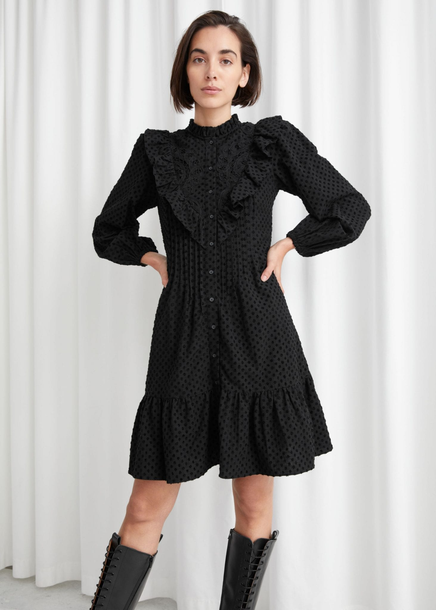 & OTHER STORIES Embroidered Button Up Ruffle Mini Dress