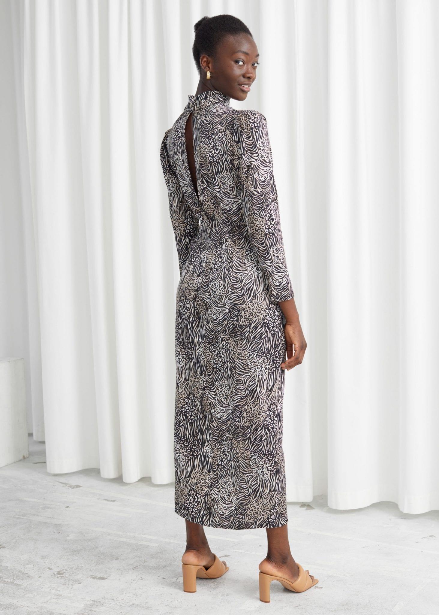 & OTHER STORIES Jacquard Puff Sleeve Midi Dress