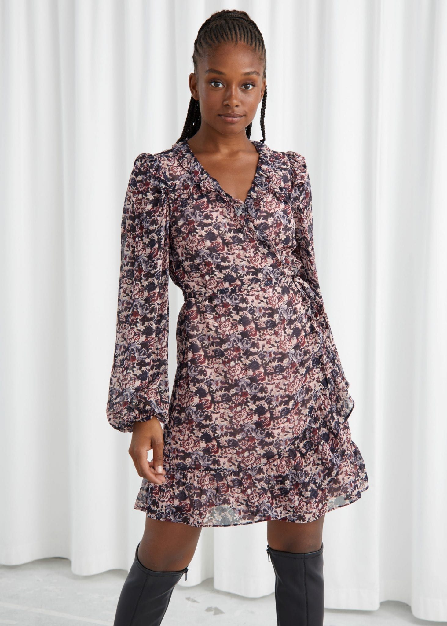 & OTHER STORIES Ruffled Mini Wrap Dress