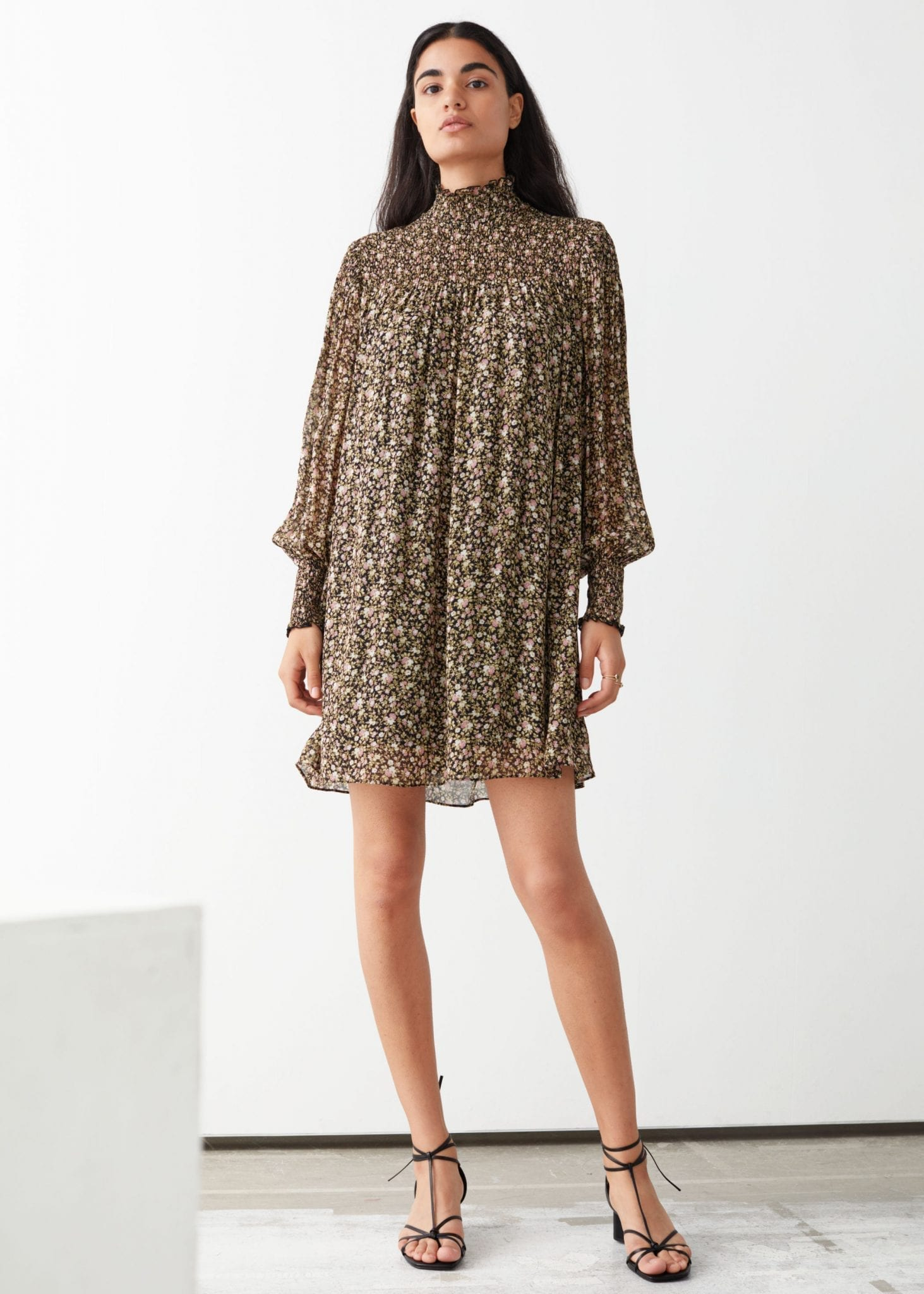 & OTHER STORIES Sheer Smocked Mini Dress