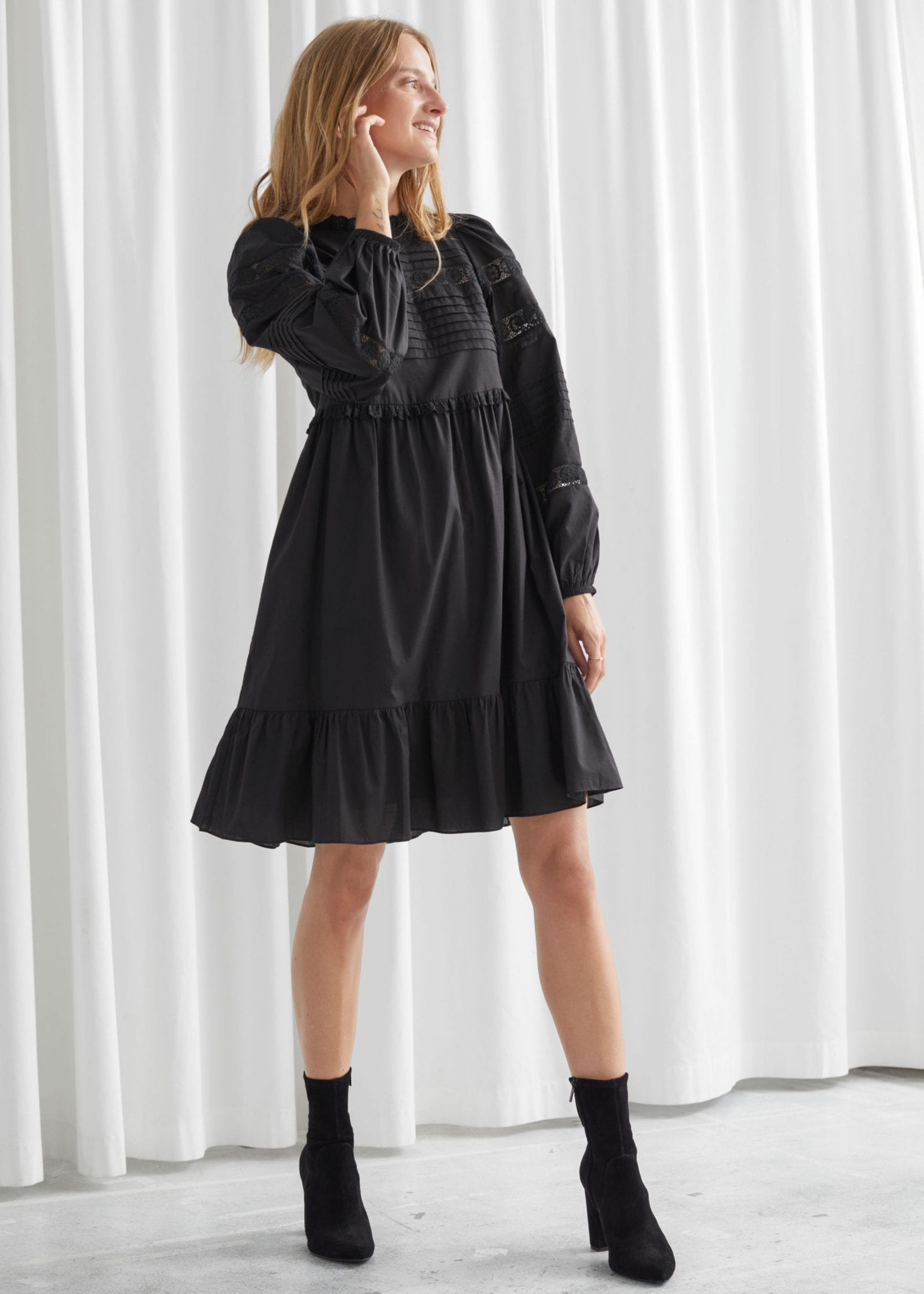& OTHER STORIES Tiered Mini Lace Dress