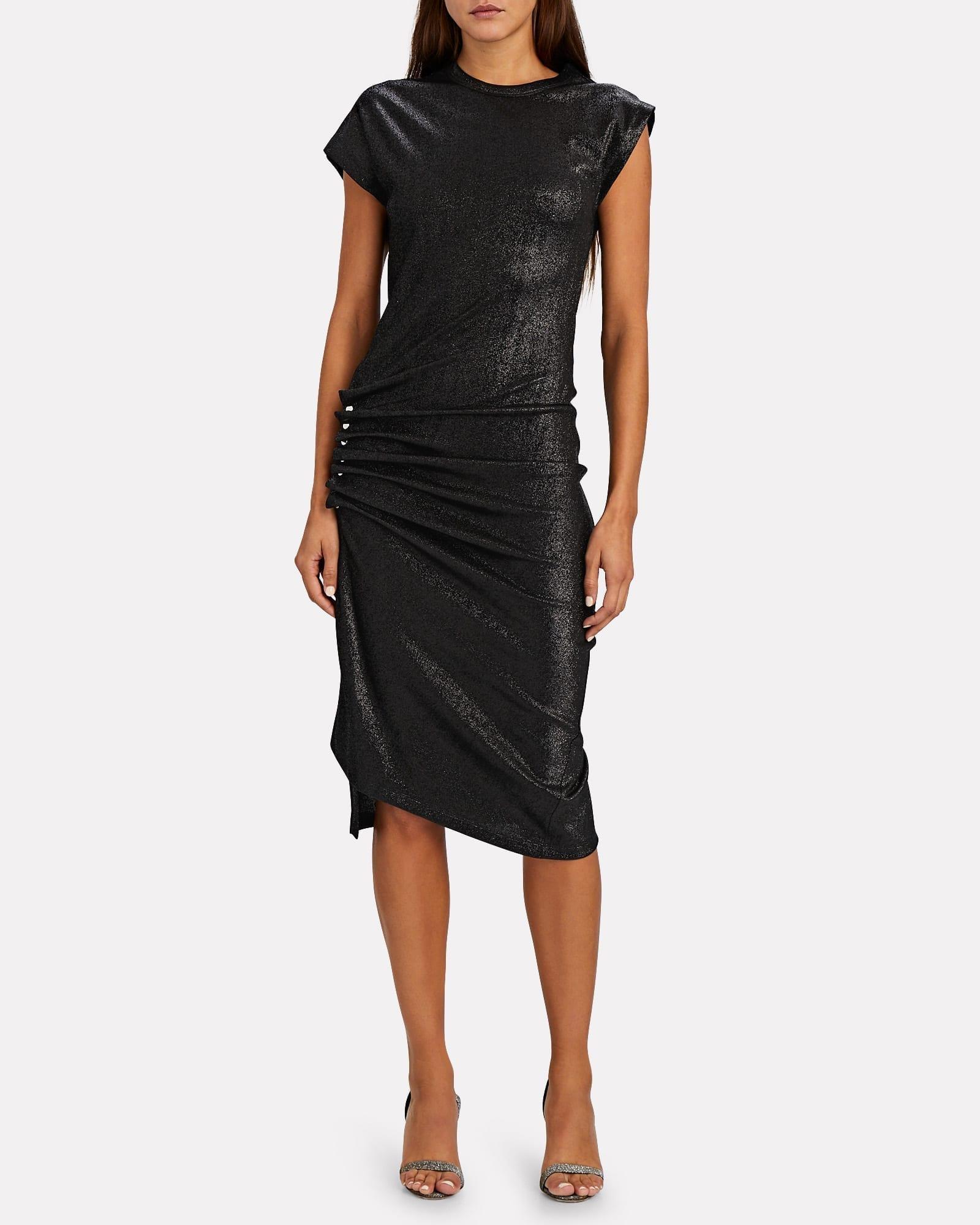 PACO RABANNE Asymmetrical Lurex T-Shirt Dress