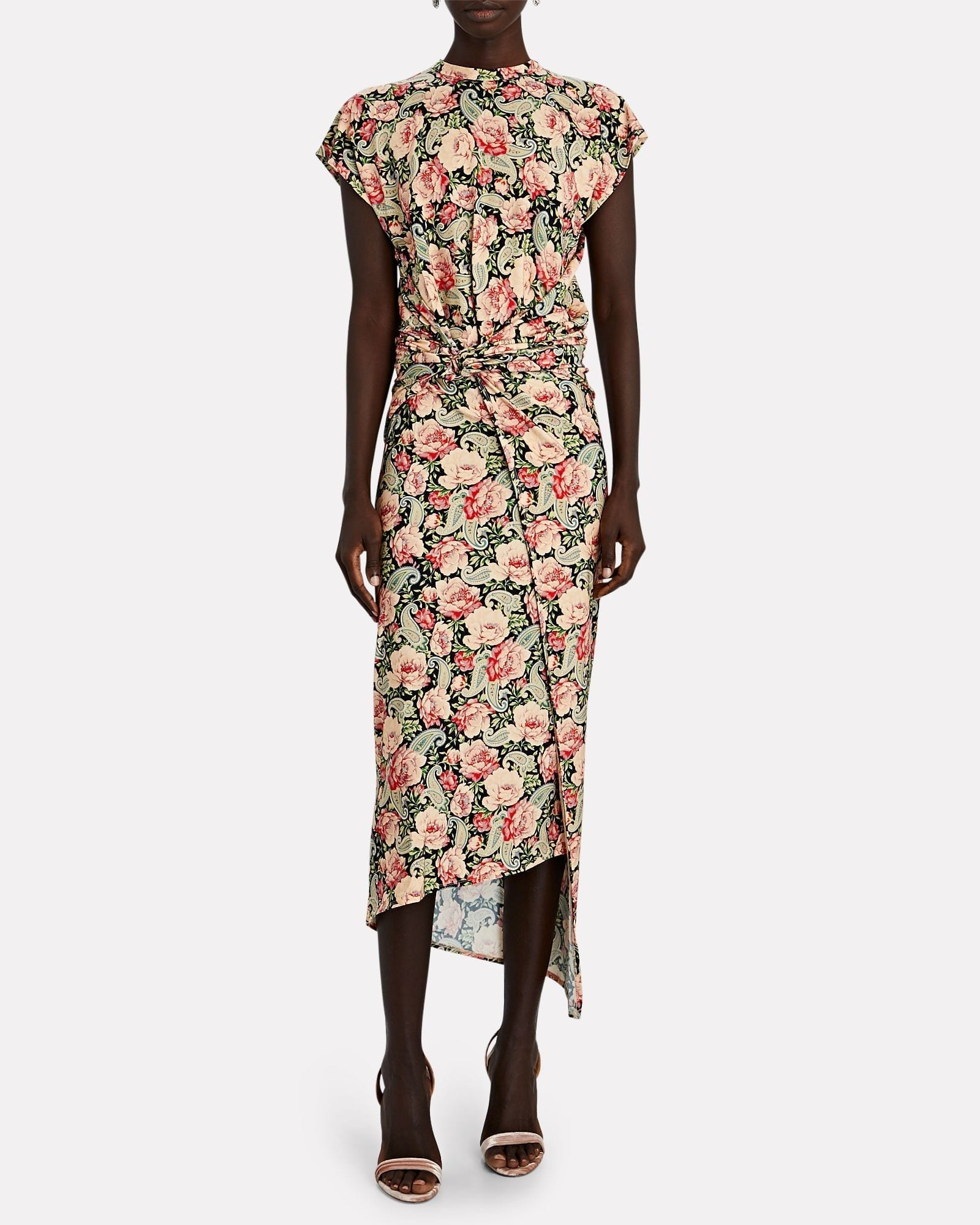 PACO RABANNE Floral Paisley Wrap Midi Dress