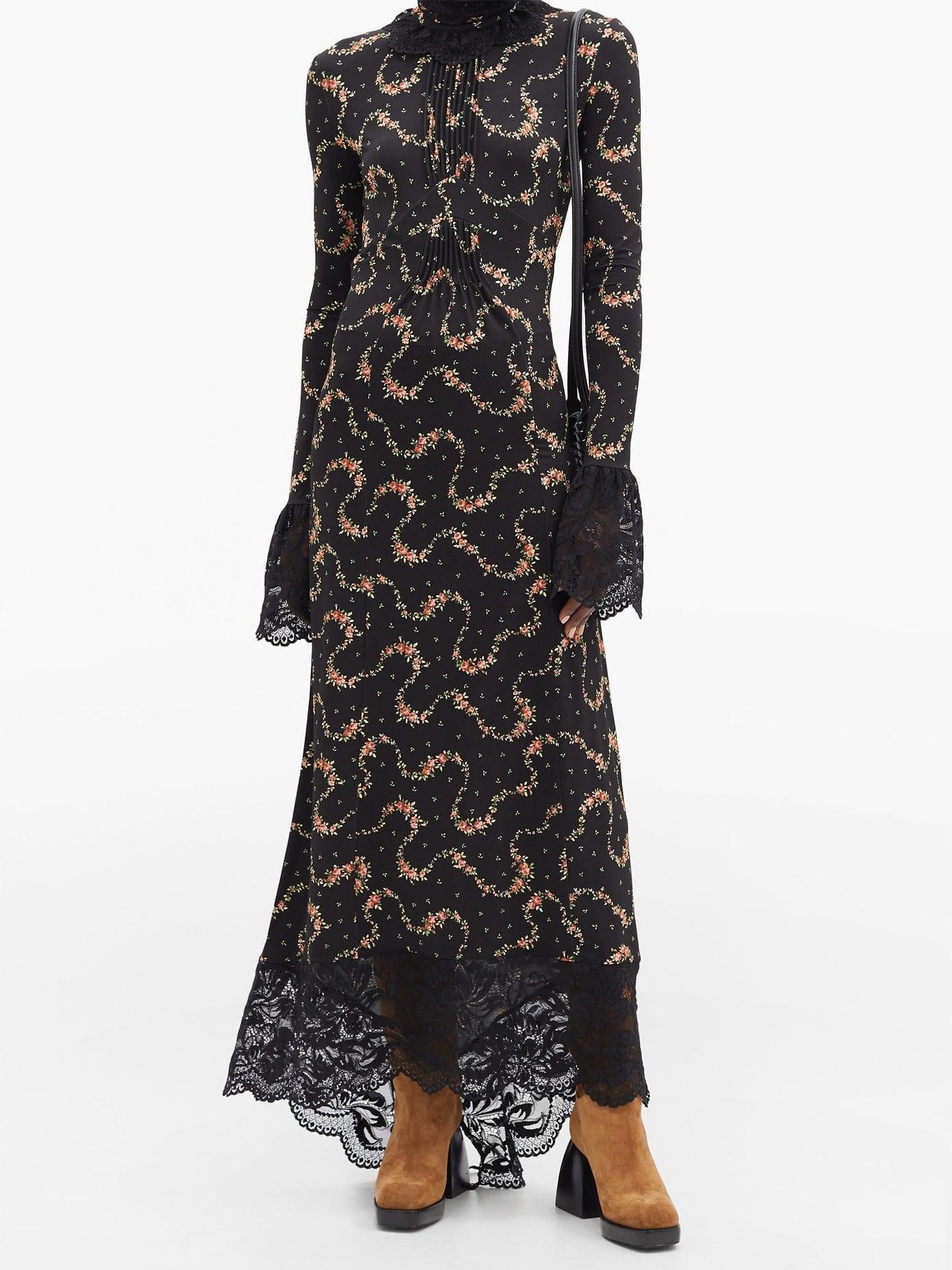 PACO RABANNE Floral-print Lace-trim Maxi Dress