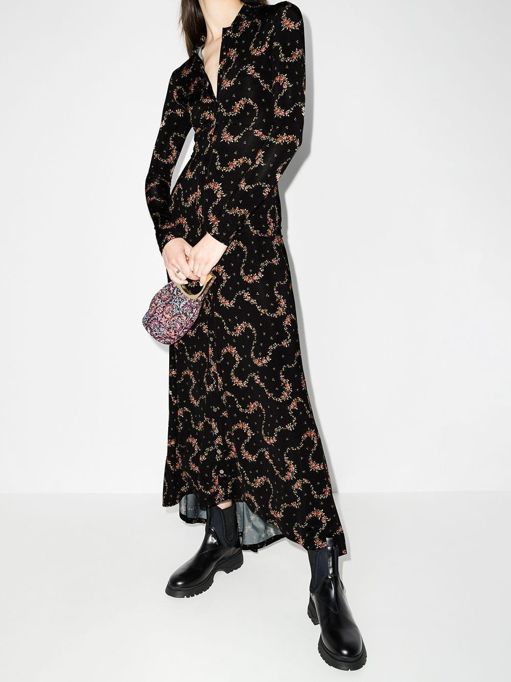 PACO RABANNE Floral-print Long Shirt Dress