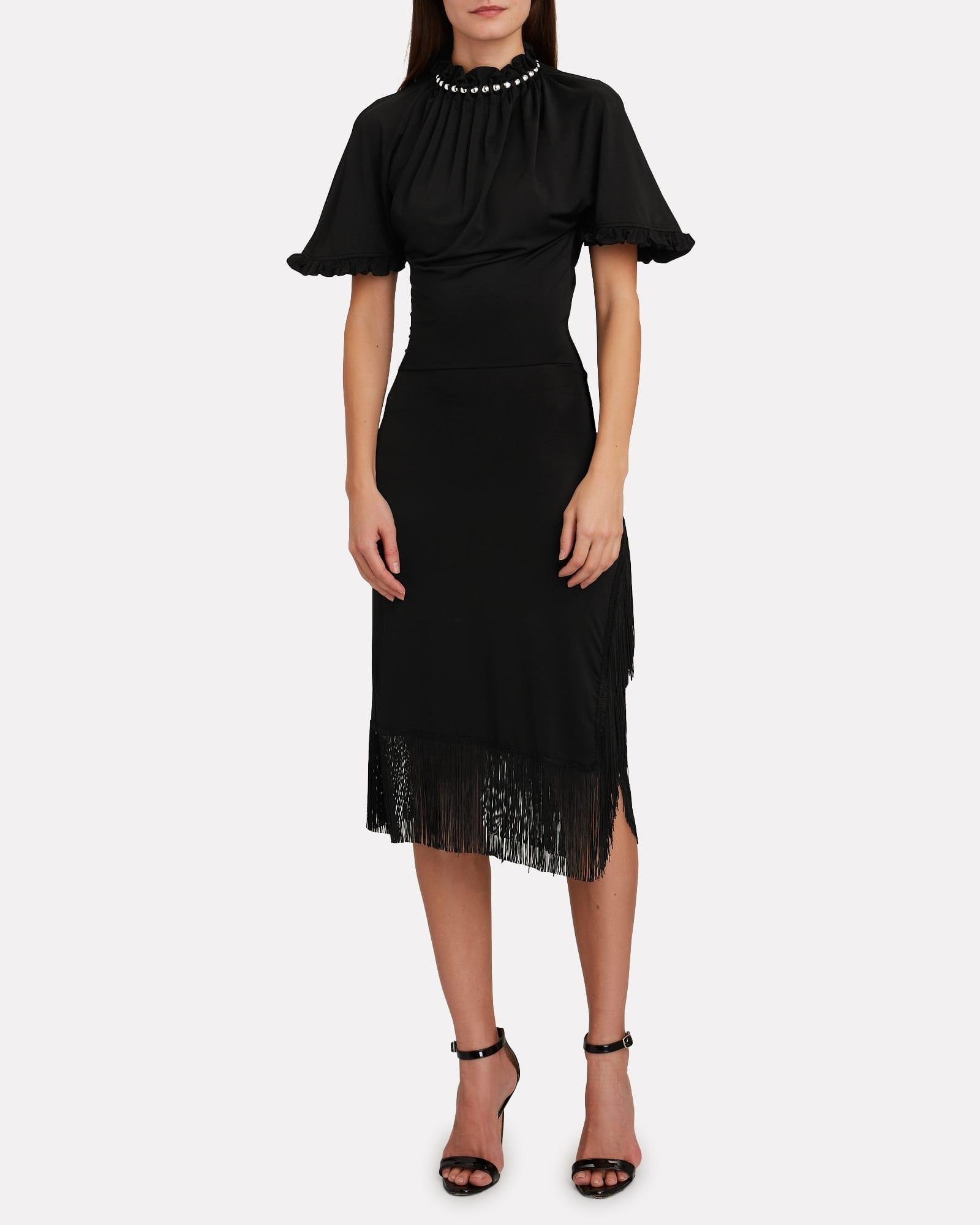 PACO RABANNE Fringe-Trimmed Midi Dress
