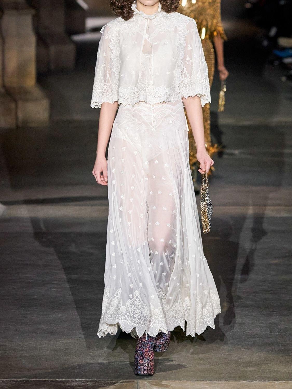 PACO RABANNE Silk Chiffon Sheer Long Dress