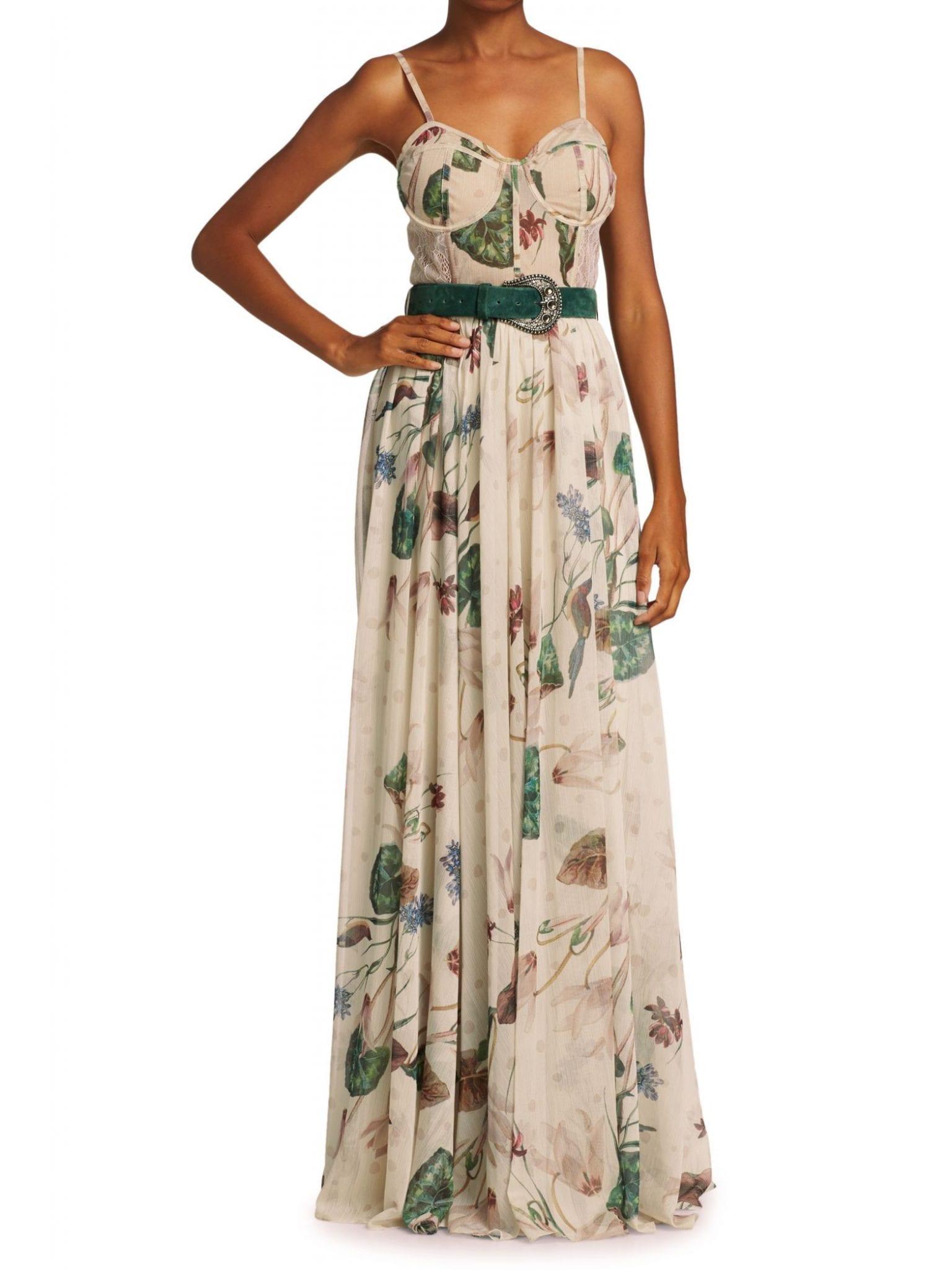 PATBO Sophia Belted Bustier Maxi Dress