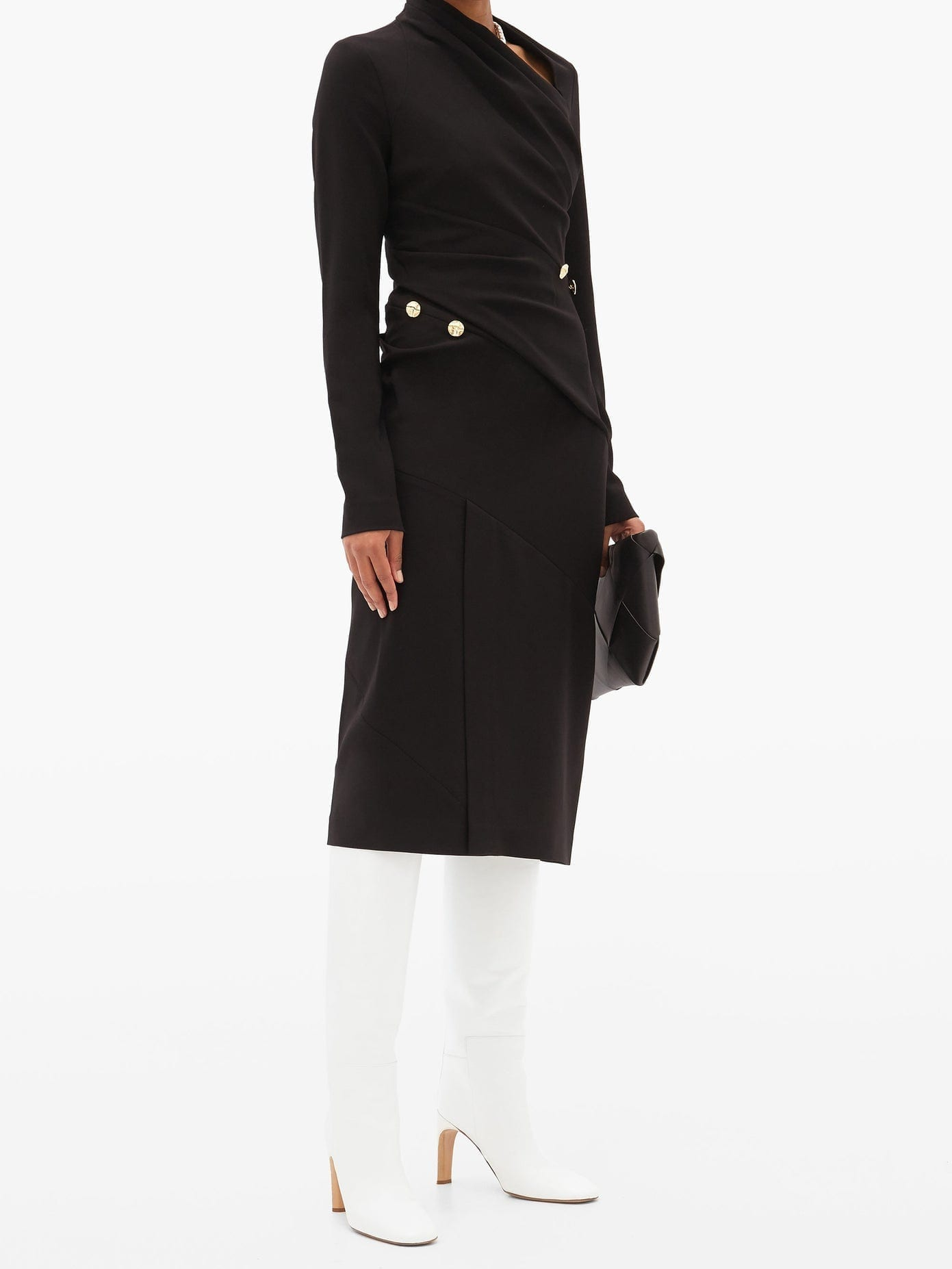 PROENZA SCHOULER Asymmetric-neck Draped Crepe Midi Dress