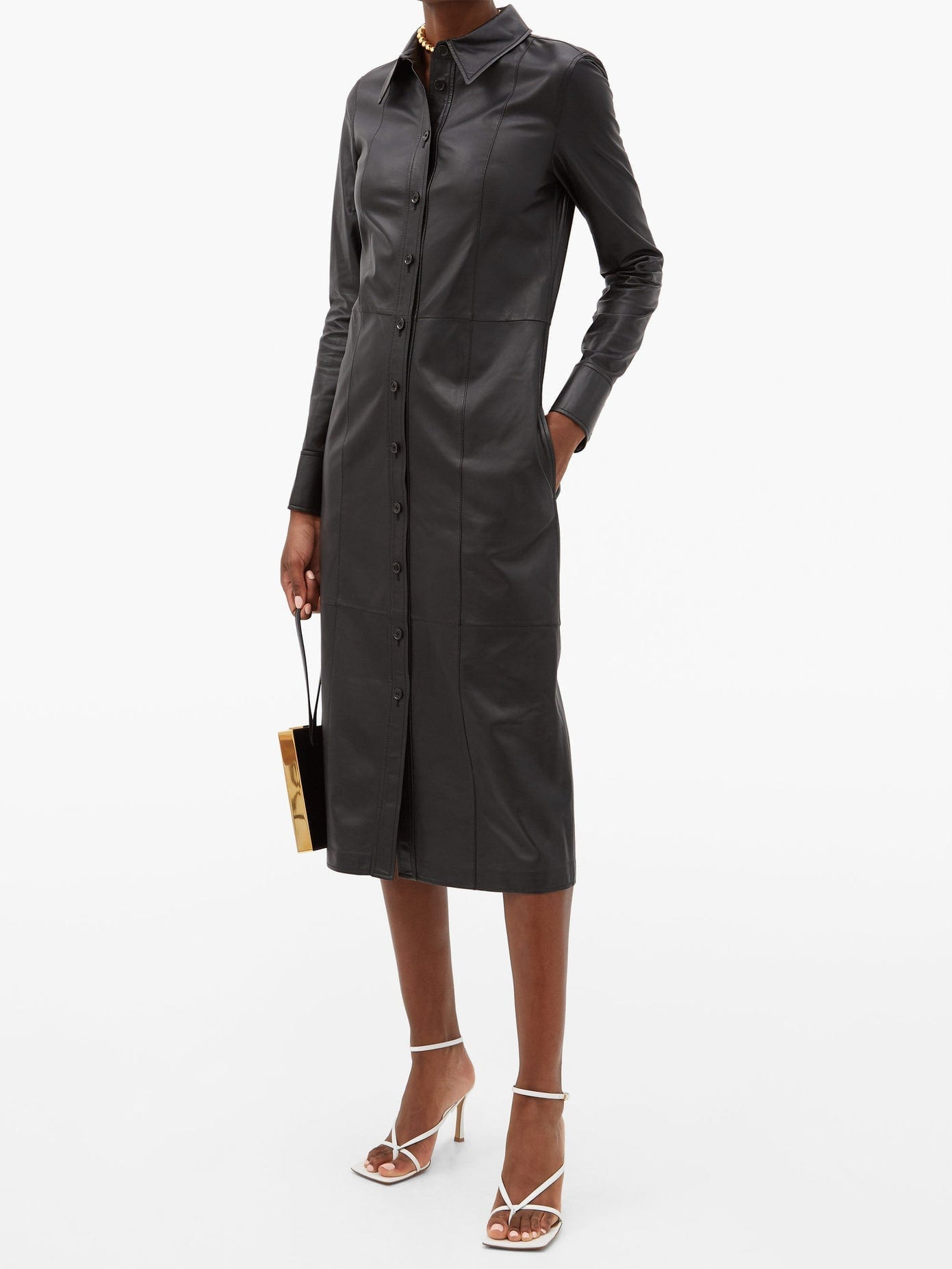 PROENZA SCHOULER Leather Midi Shirt Dress