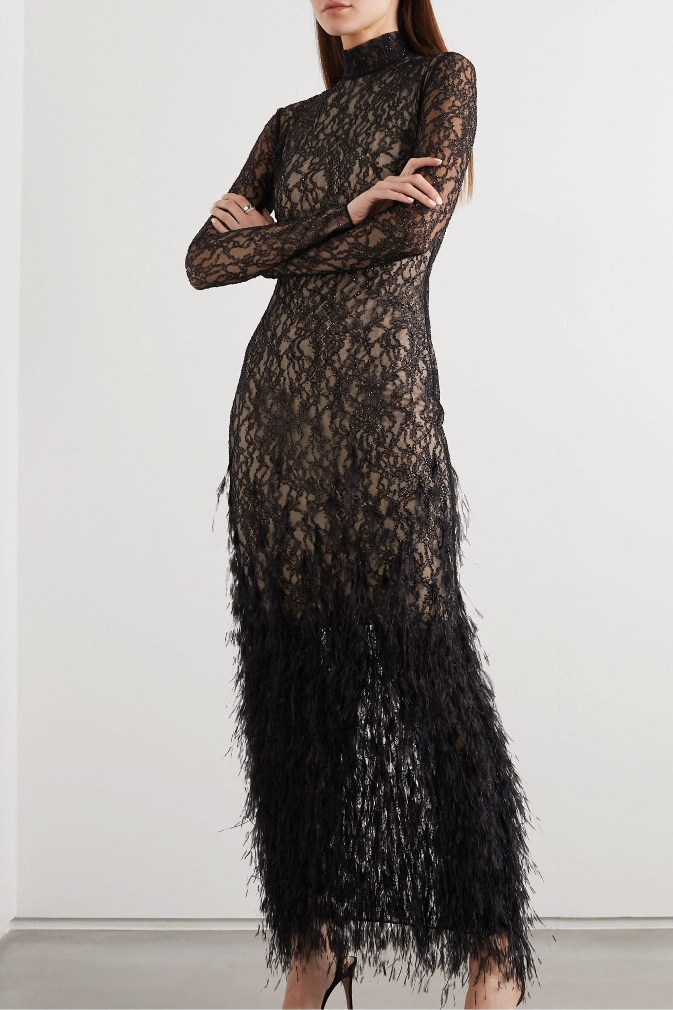 RALPH & RUSSO Feather-trimmed Crystal-embellished Stretch-lace Gown