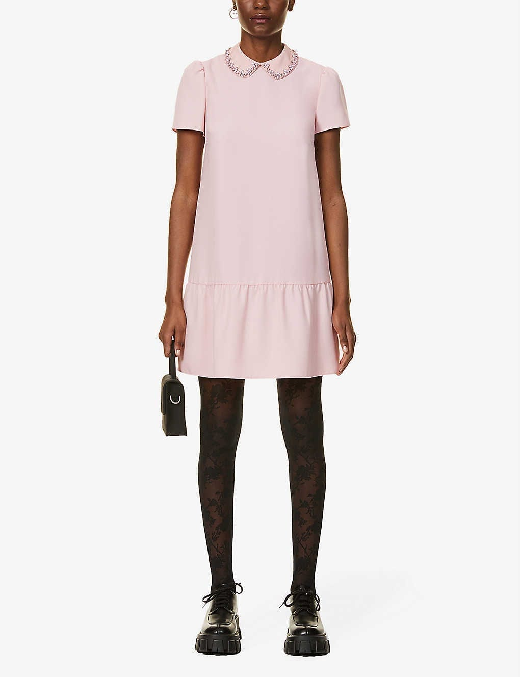 RED VALENTINO Embellished Crepe Mini Dress