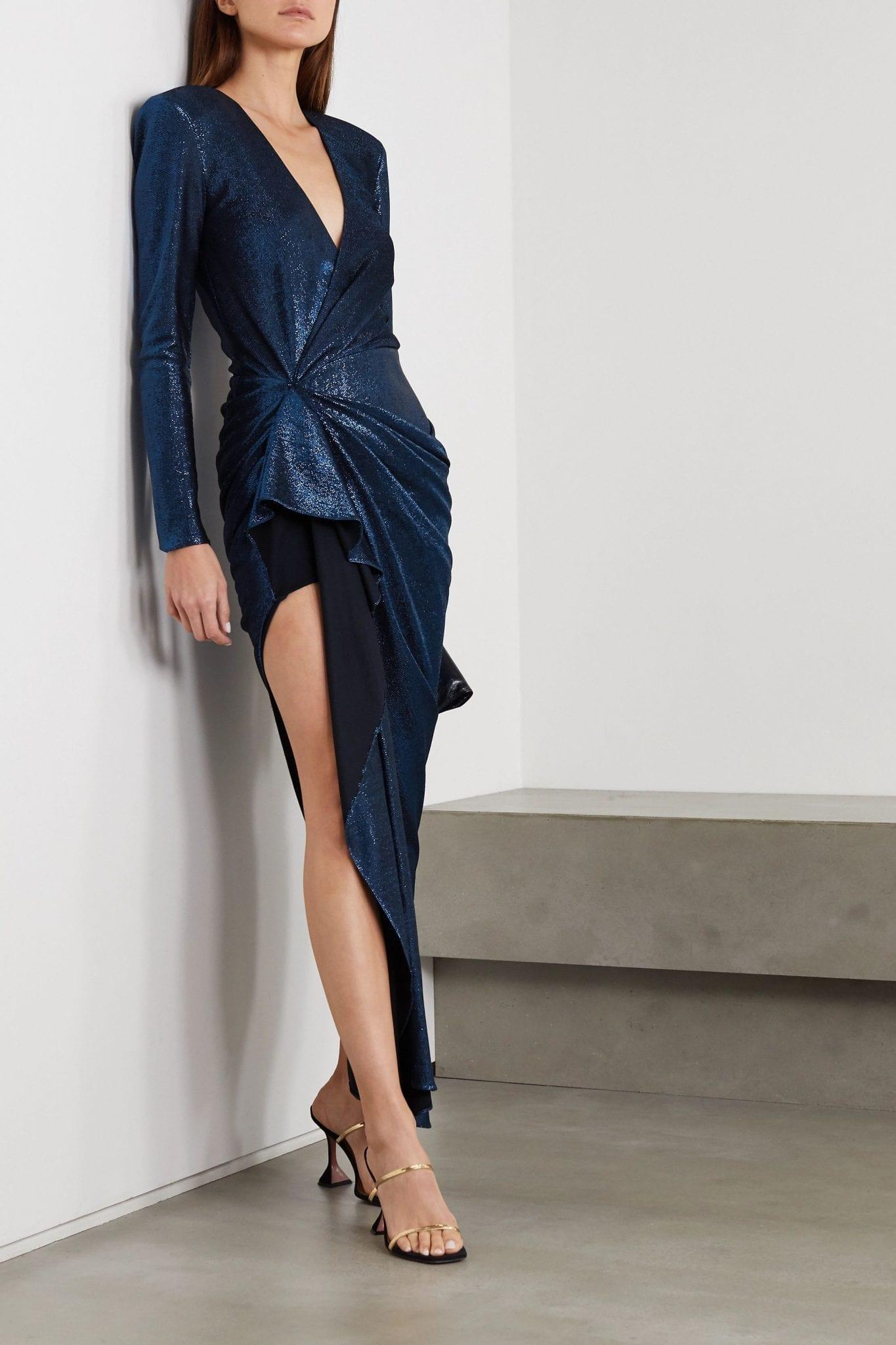 REDEMPTION Asymmetric Draped Lamé Dress