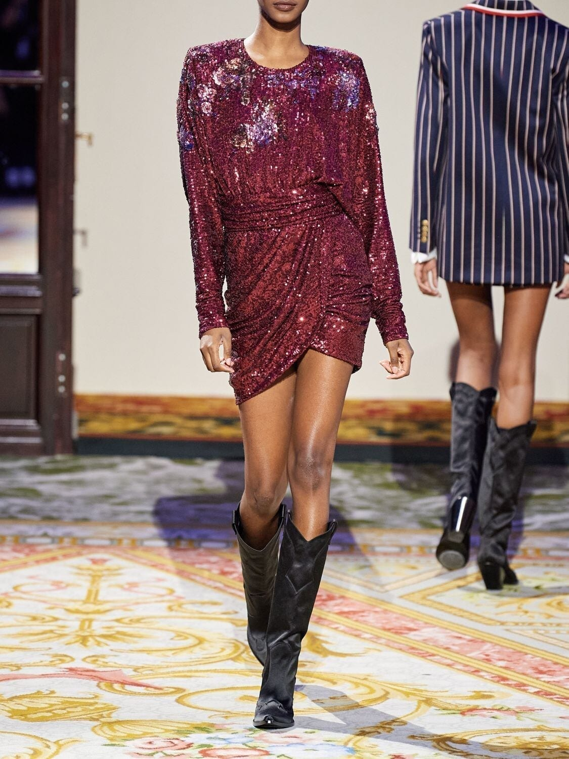 REDEMPTION Sequined Draped Mini Dress