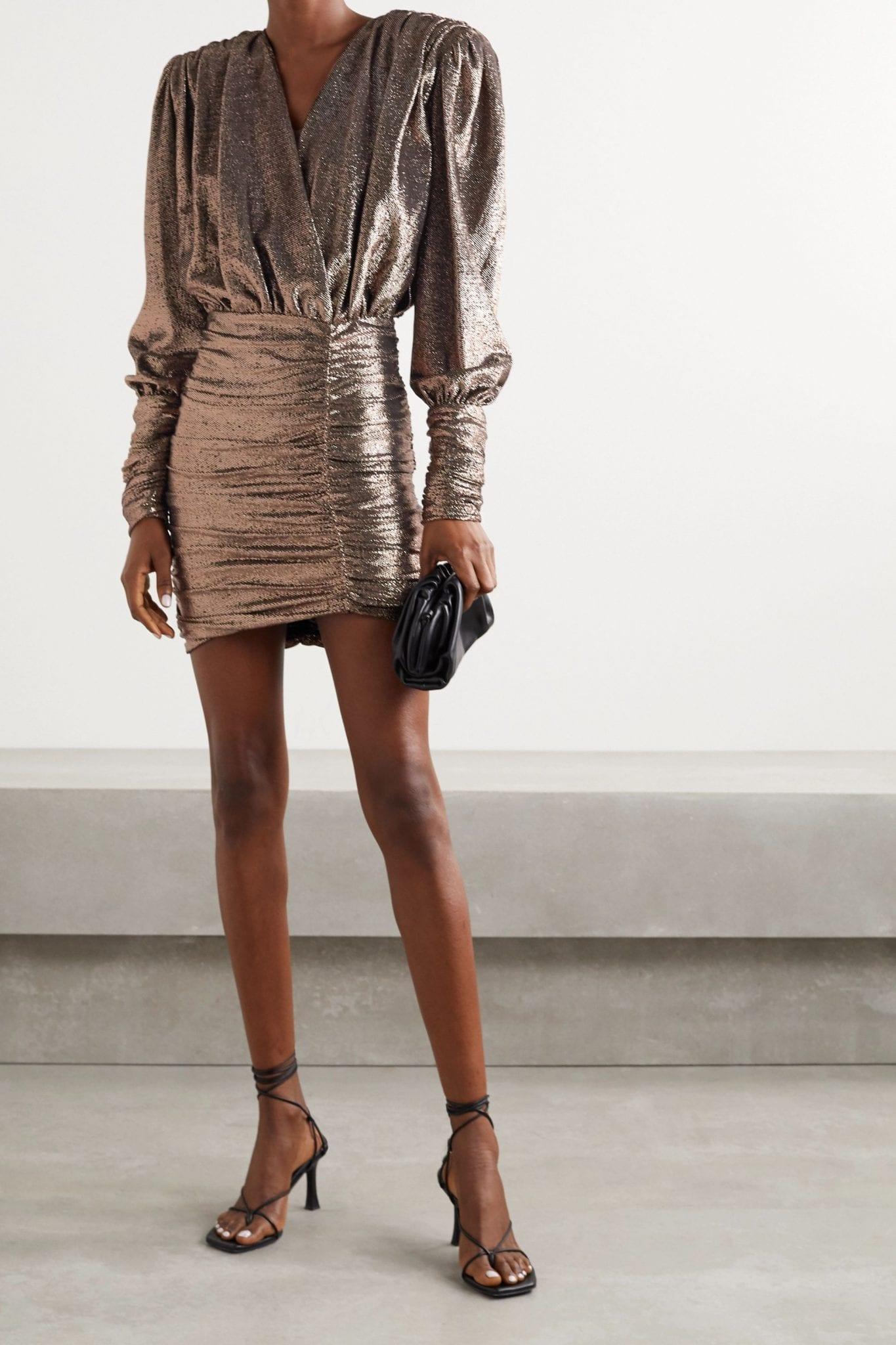 REDEMPTION Wrap-effect Ruched Lamé Mini Dress