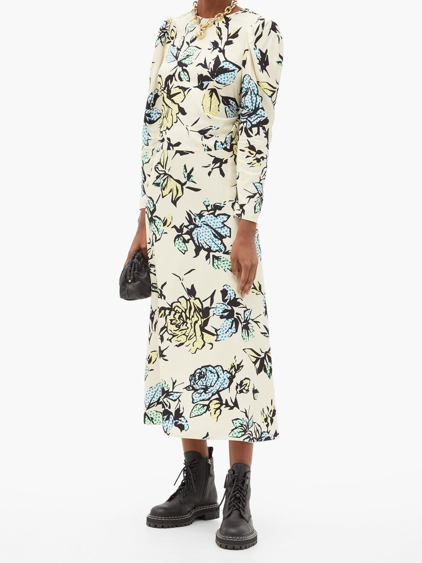 REDVALENTINO Bow-embellished Floral-print Crepe Midi Dress